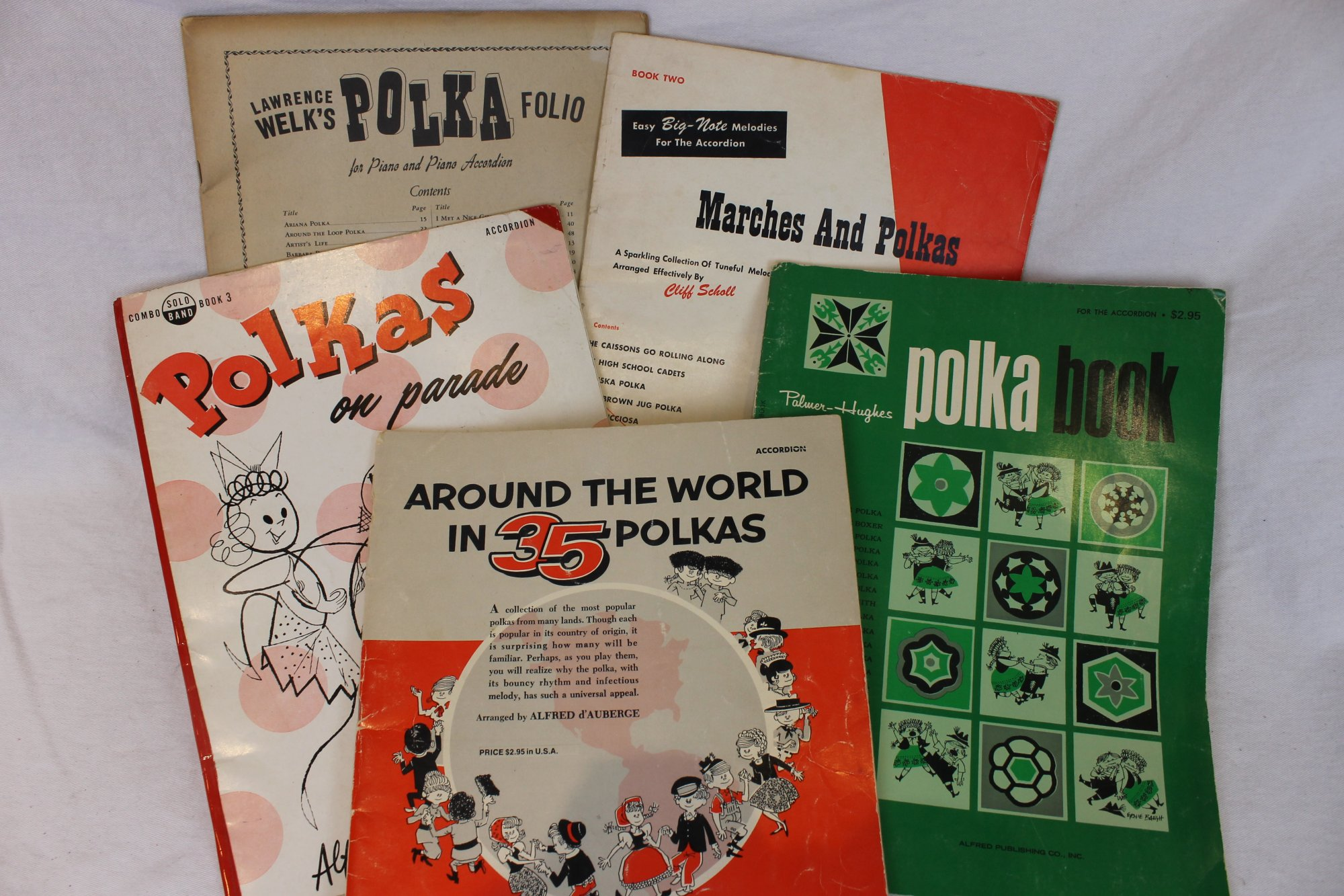 Lot of 5 Used Piano Accordion Books and Sheets - Polka Books