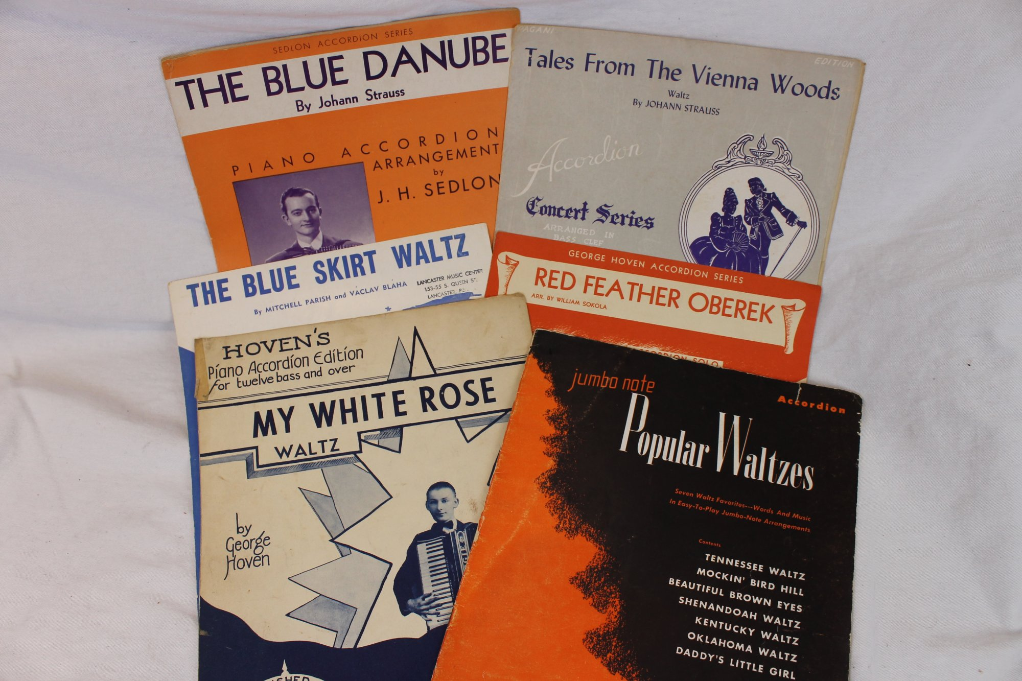 Lot of 6 Used Piano Accordion Books and Sheets - Waltzes