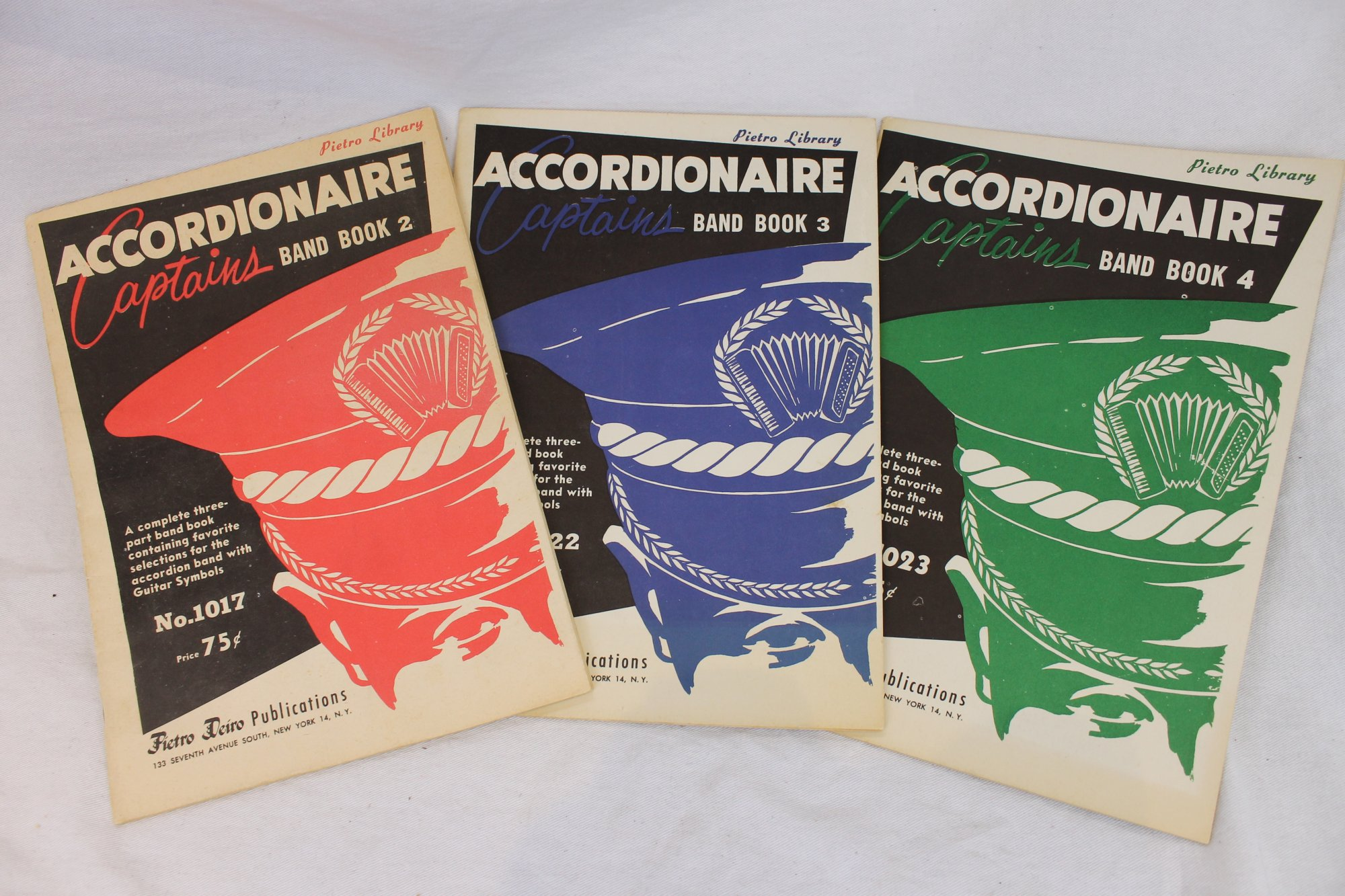 Lot of 3 Used Piano Accordion Books and Sheets - Arrangements for Three-Part Accordion Band