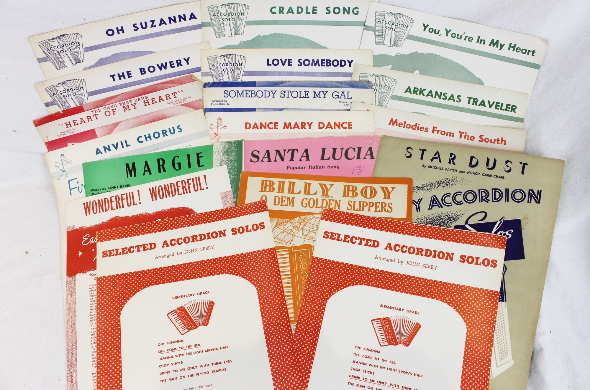 Lot of 18 Used Accordion Books and Sheets - Easy Accordion Solos