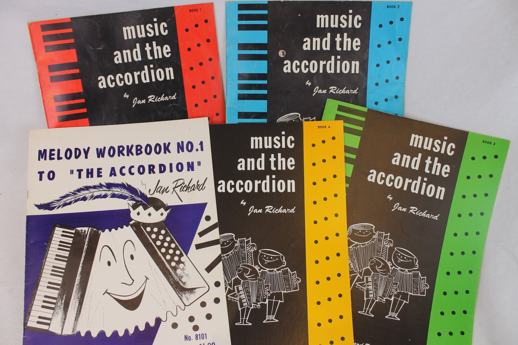 Lot of 5 Used Accordion Books - Music and the Accordion: A Beginner's Accordion Method Series