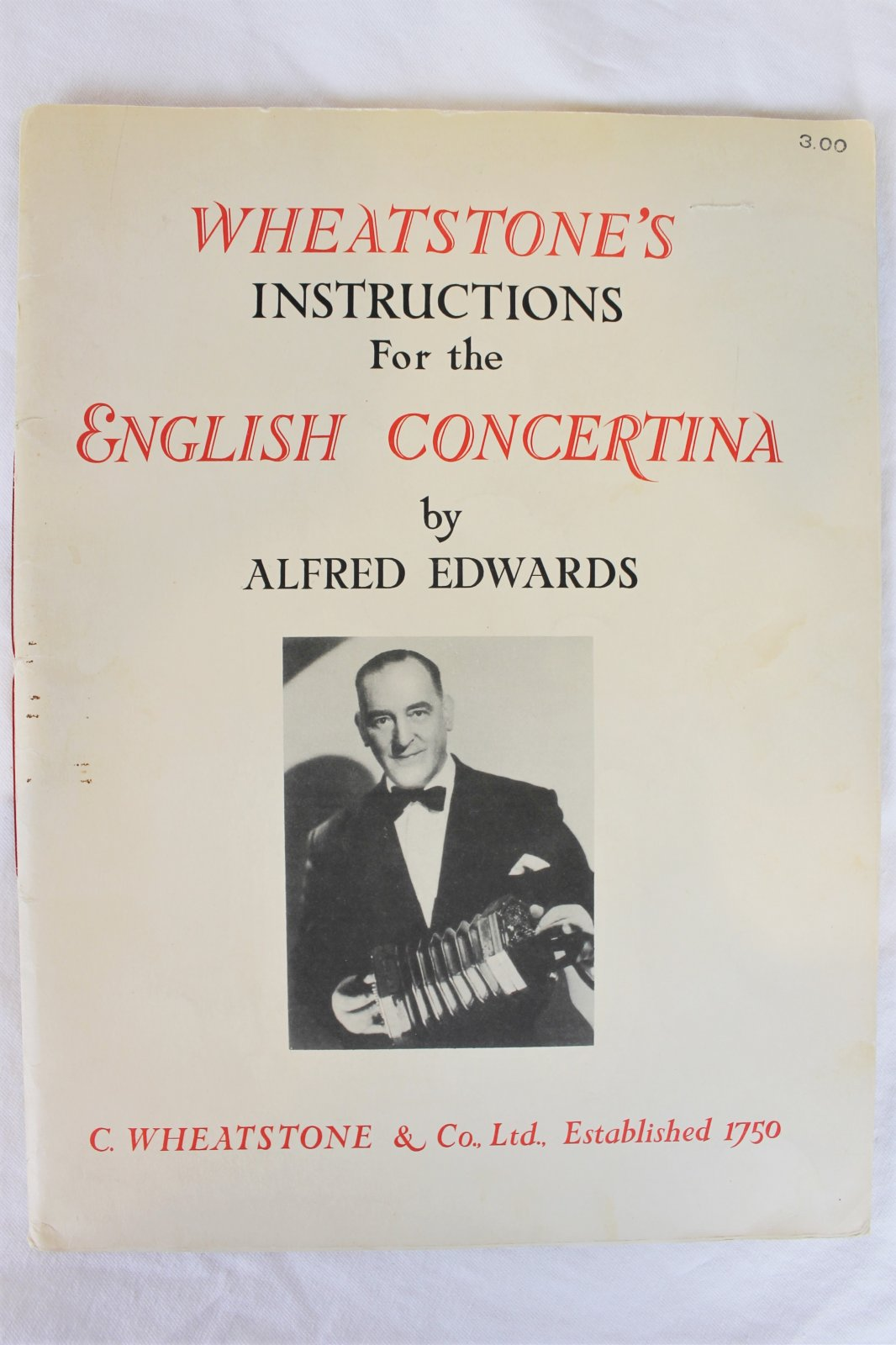 Used English Concertina Method Book - Wheatstone's Instructions for the English Concertina by Alfred Edwards