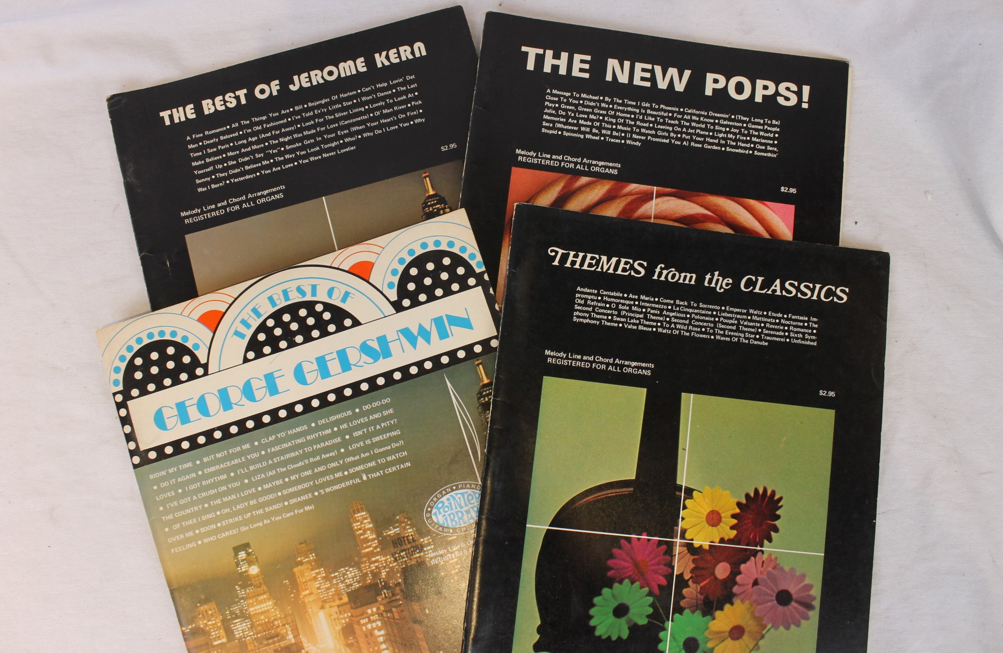 Lot of 4 Used Accordion, Piano, Organ, or Guitar Music Books - Pointer Library Jerome Kern George Gerschwin