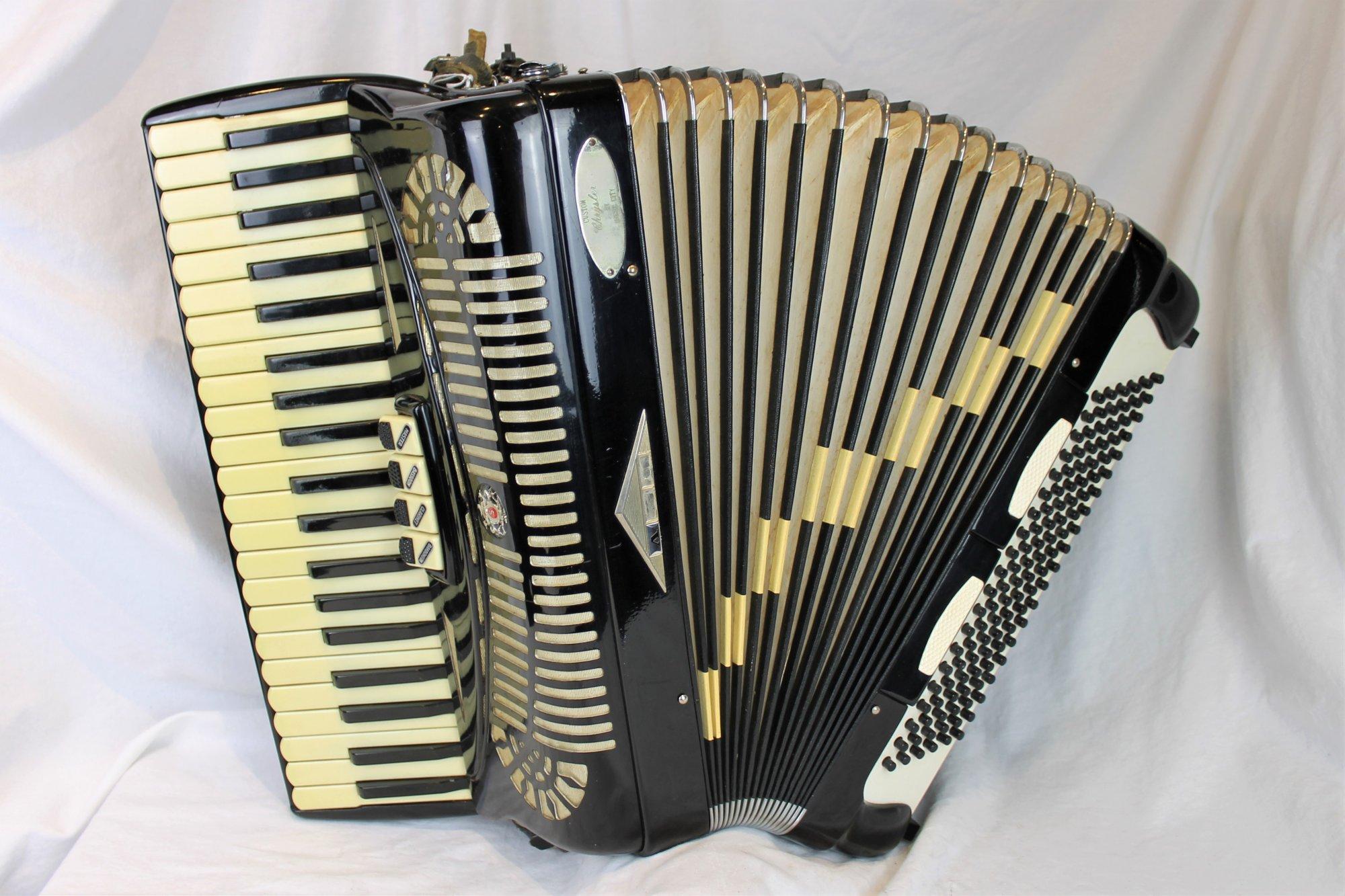 2410 - Black Chrysler Superior Piano Accordion 41 120 LM