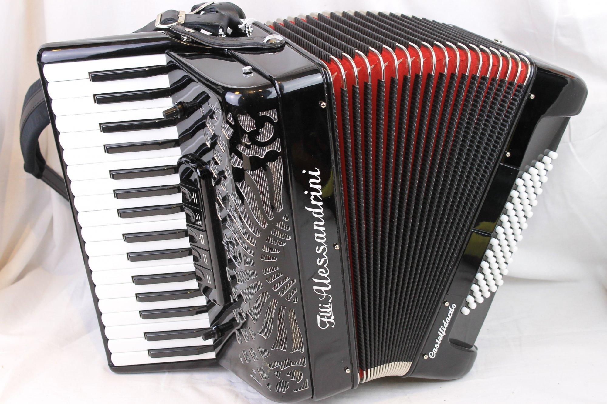 2953 - Black Alessandrini Piano Accordion LMM 34 72