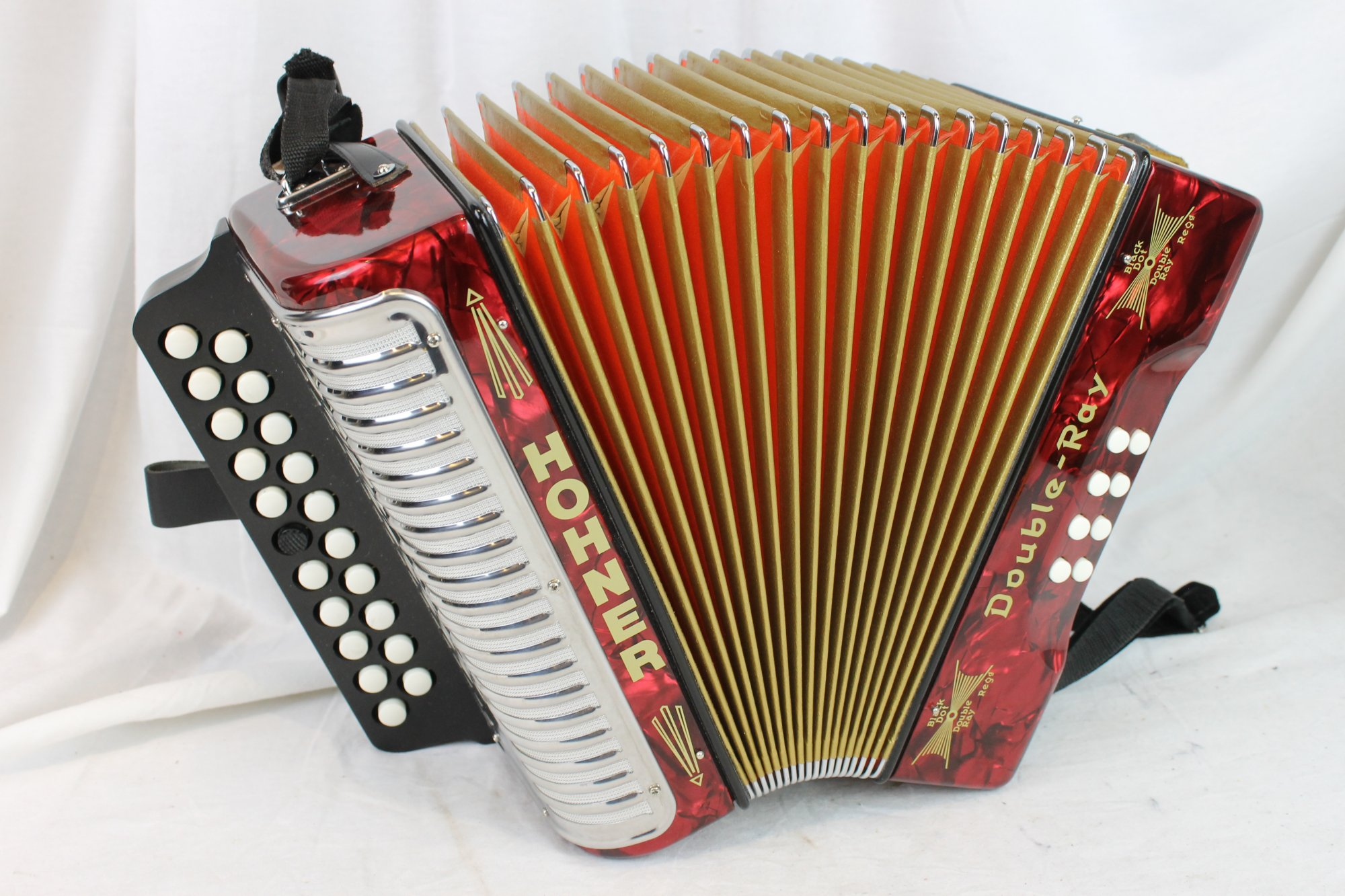 3095 - Red Hohner Double Ray Button Accordion BC MM 21 8