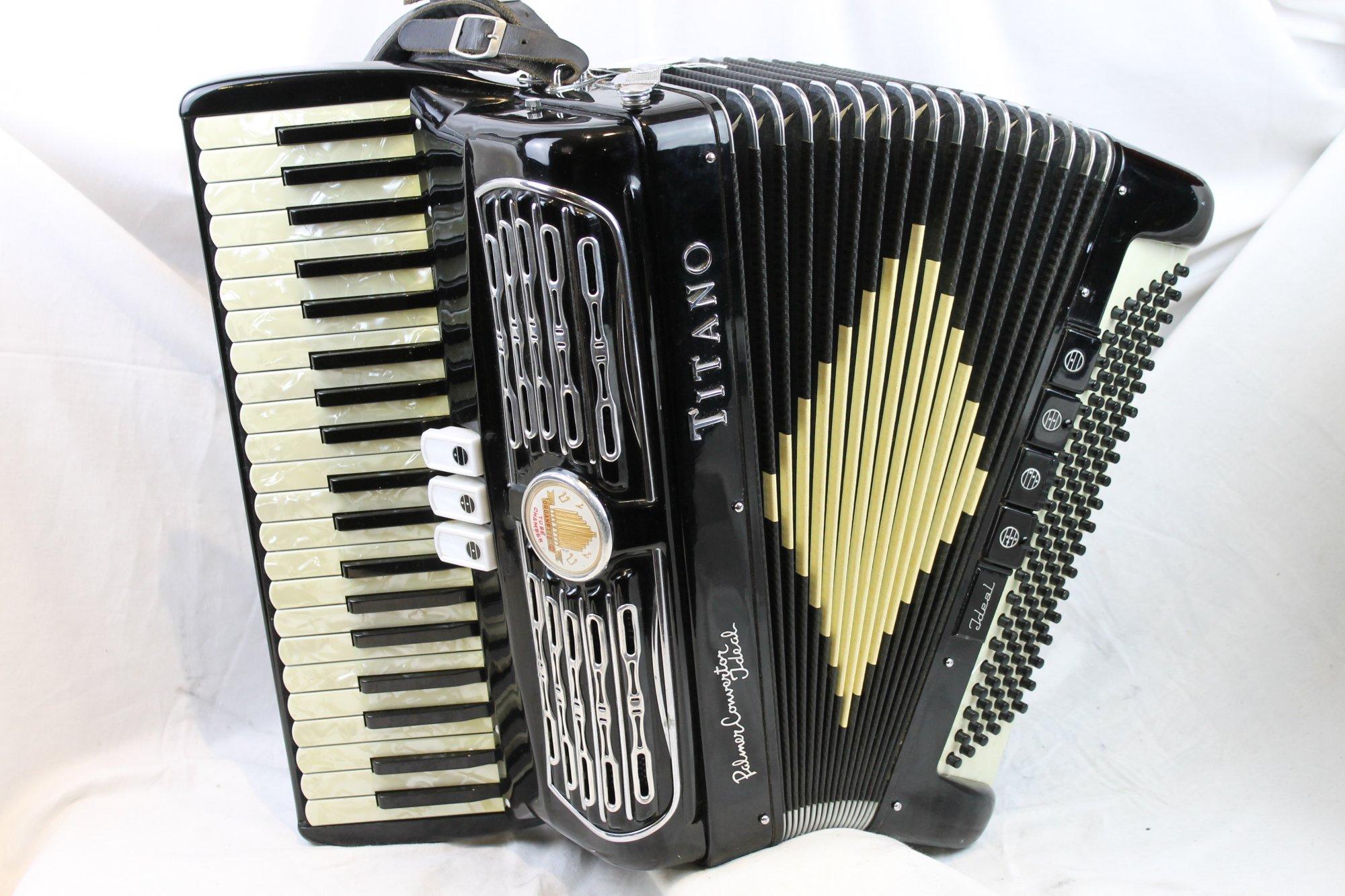 3131 - Black Titano Ideal Palmer Converter Grand Piano Accordion LM 41 120