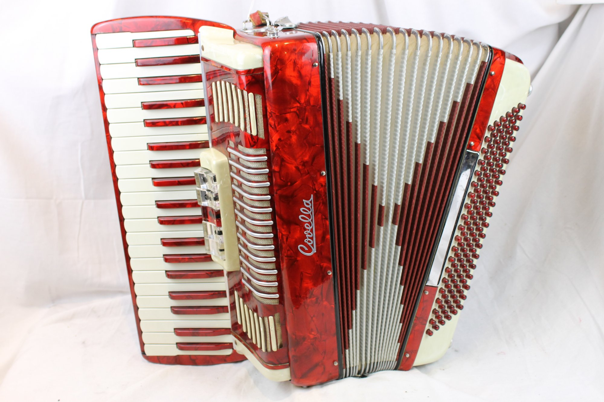 3149 - Red and Cream Covella Piano Accordion LMM 41 120
