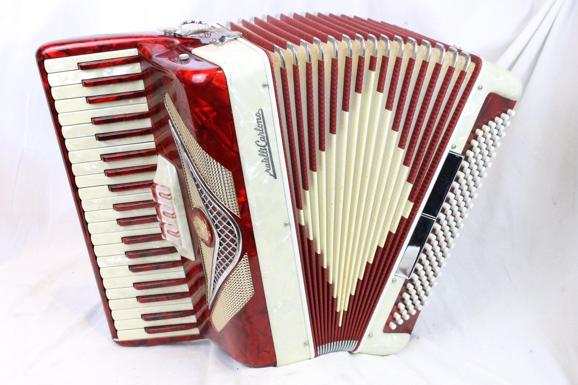 3159 - Red and Cream Fratelli Carlono Piano Accordion LM 41 120