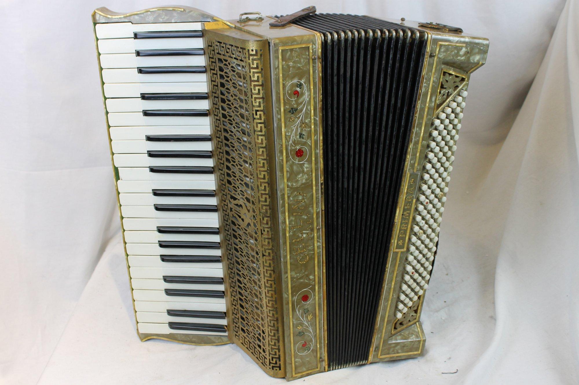 3288 - Bronze Cellini Primera Piano Accordion LMM 39 120 - For Parts or Repair
