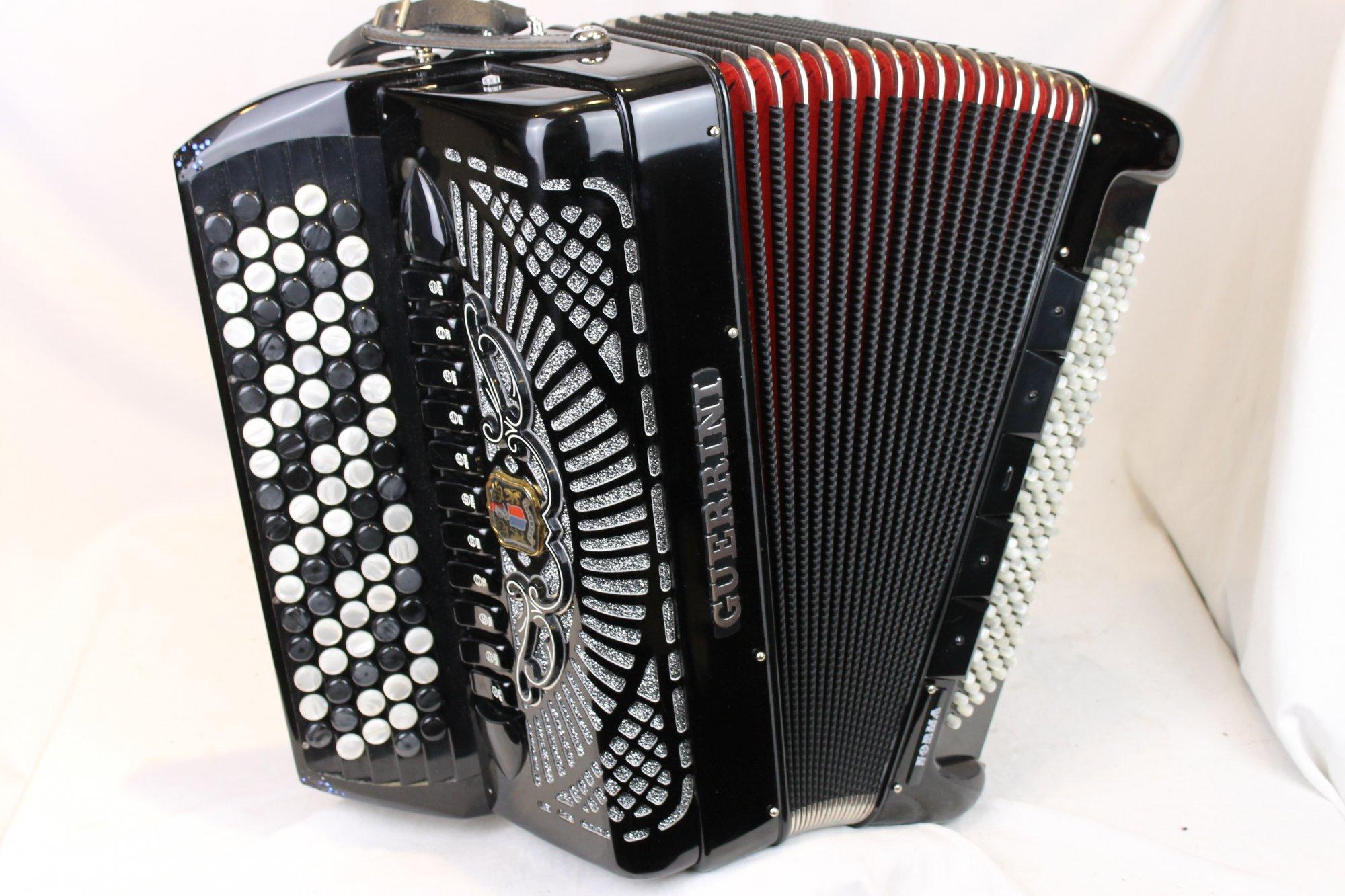 3488 - Black Guerrini Norma Chromatic Accordion LMMM 92 120