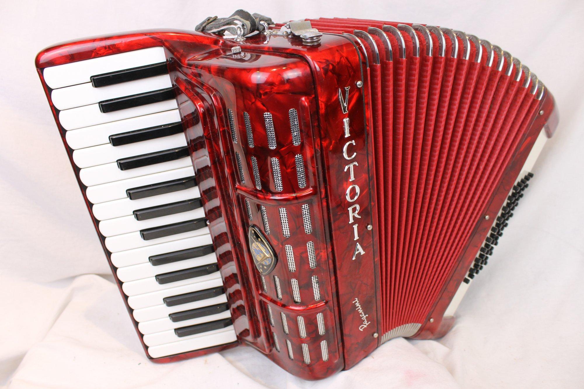 3620 - Red Victoria Paganini Piano Accordion MM 30 50
