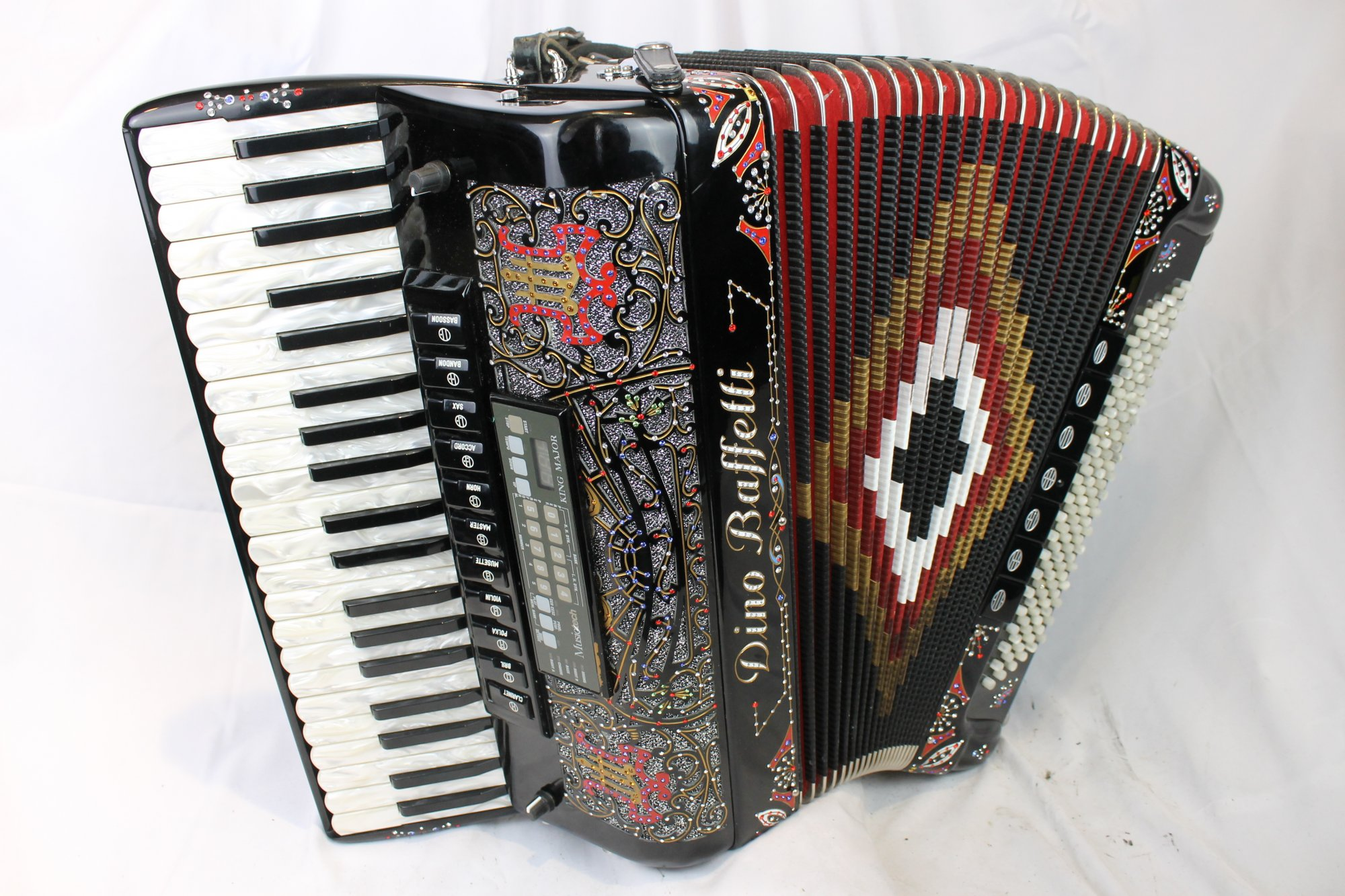 3771 - Black Decorated Dino Baffetti Piano Accordion LMMM 41 120