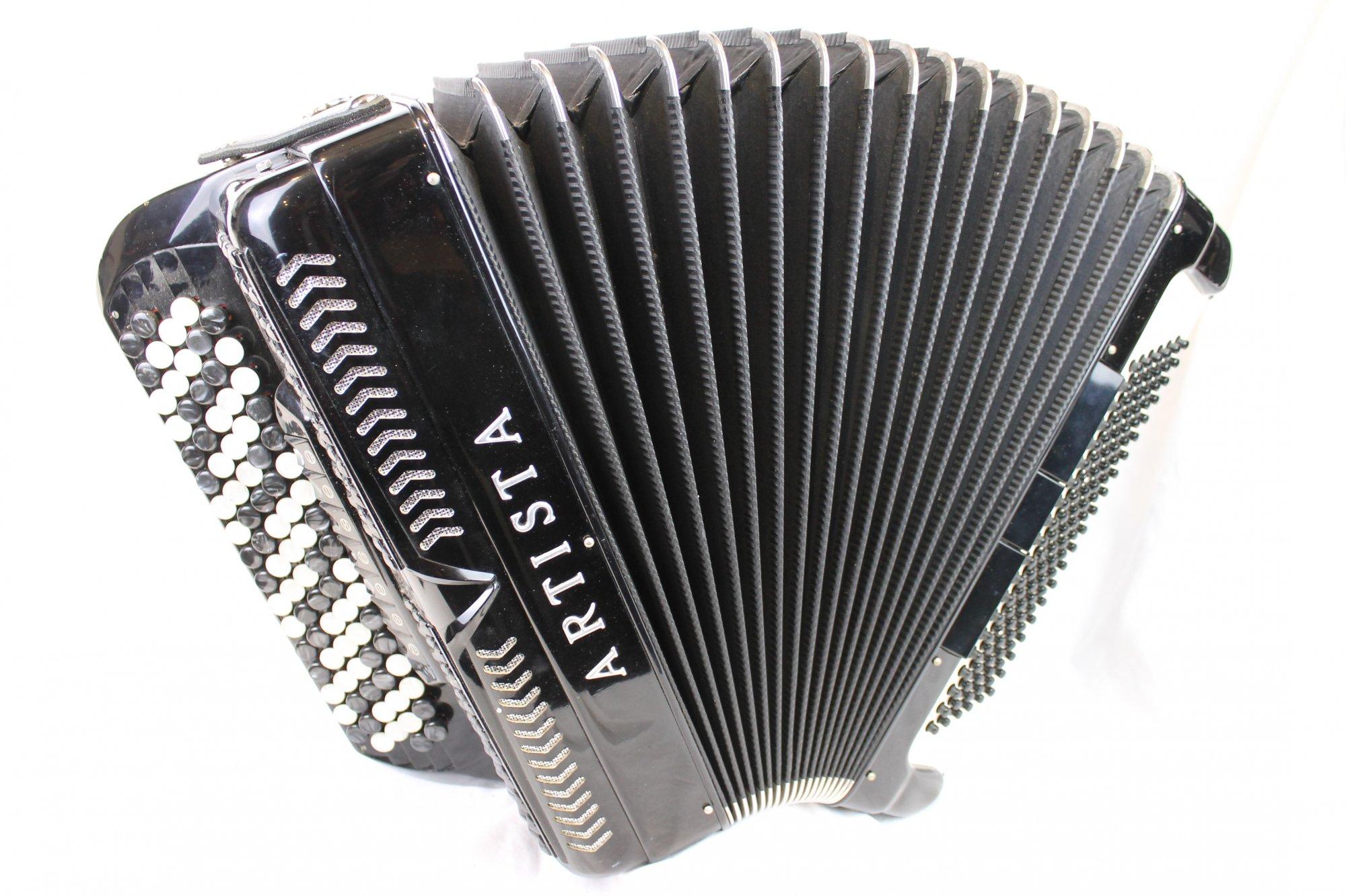 3813 - Black Artista Chromatic Button Accordion C System LMM 87 120