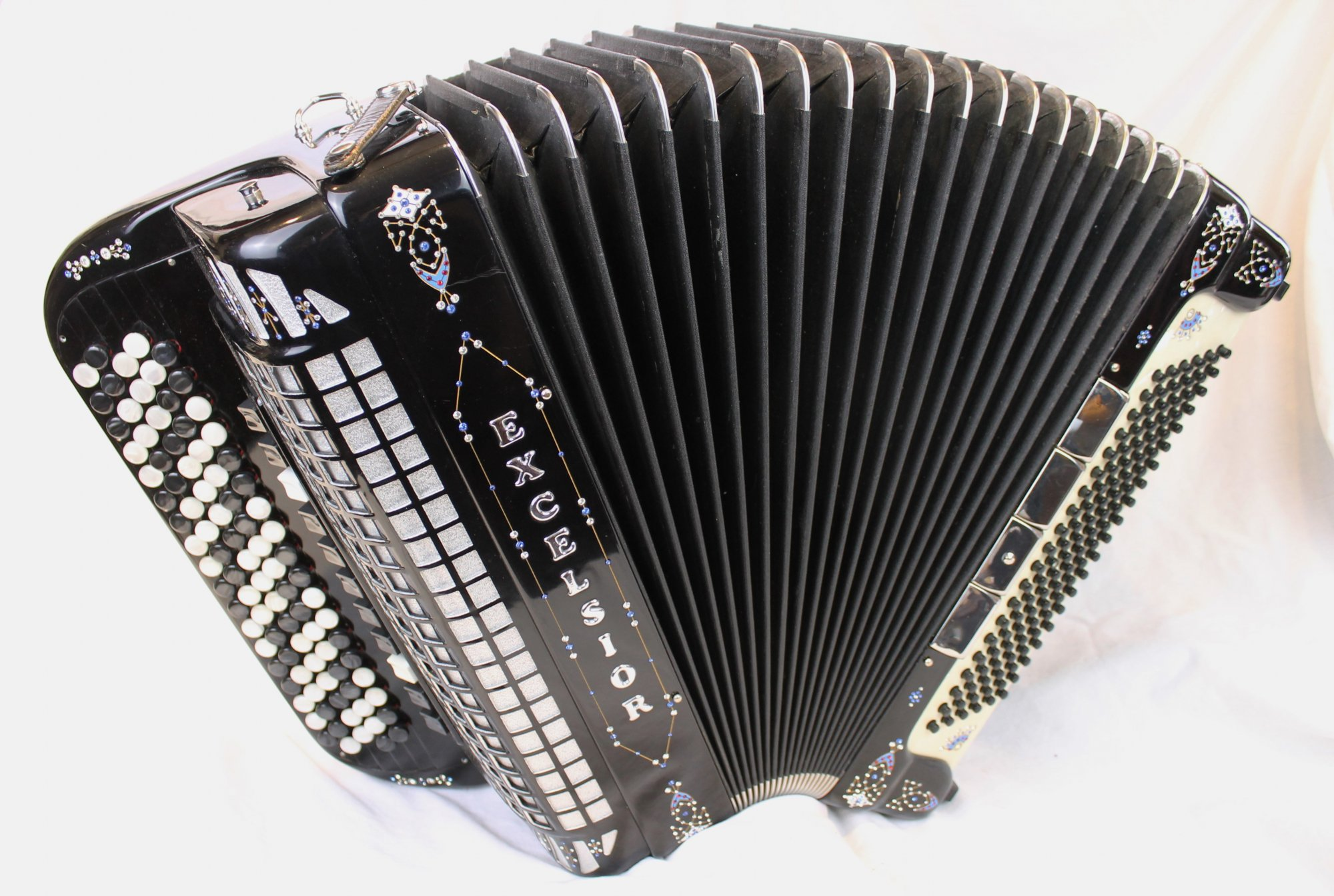 3814 - Black Decorated Excelsior 921 Tone Chamber Chromatic Button Accordion LMMH 92 120