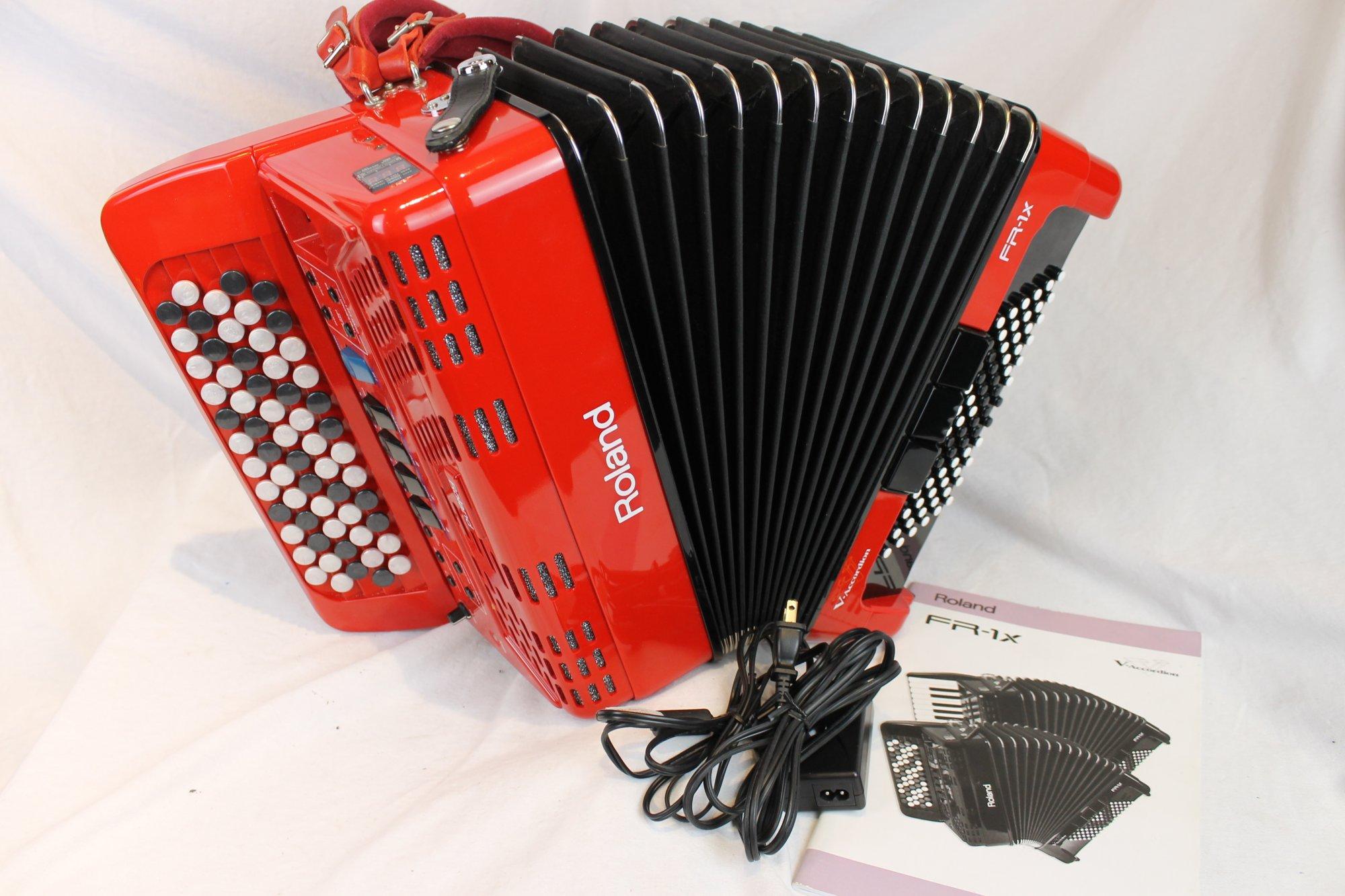 3850 - Red Roland FR-1XB Chromatic Button Accordion 62 72