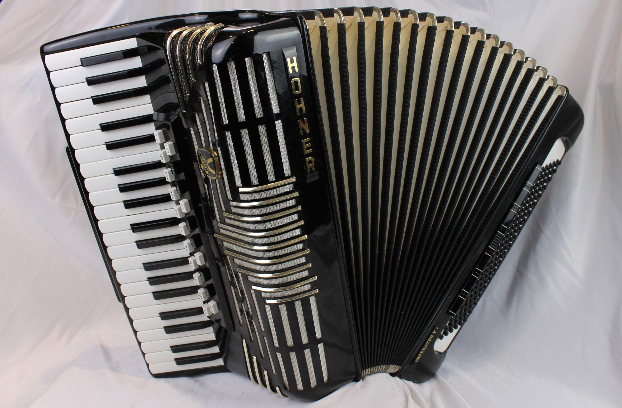 3908 - Black Hohner Imperator V Piano Accordion LMMMH 41 120