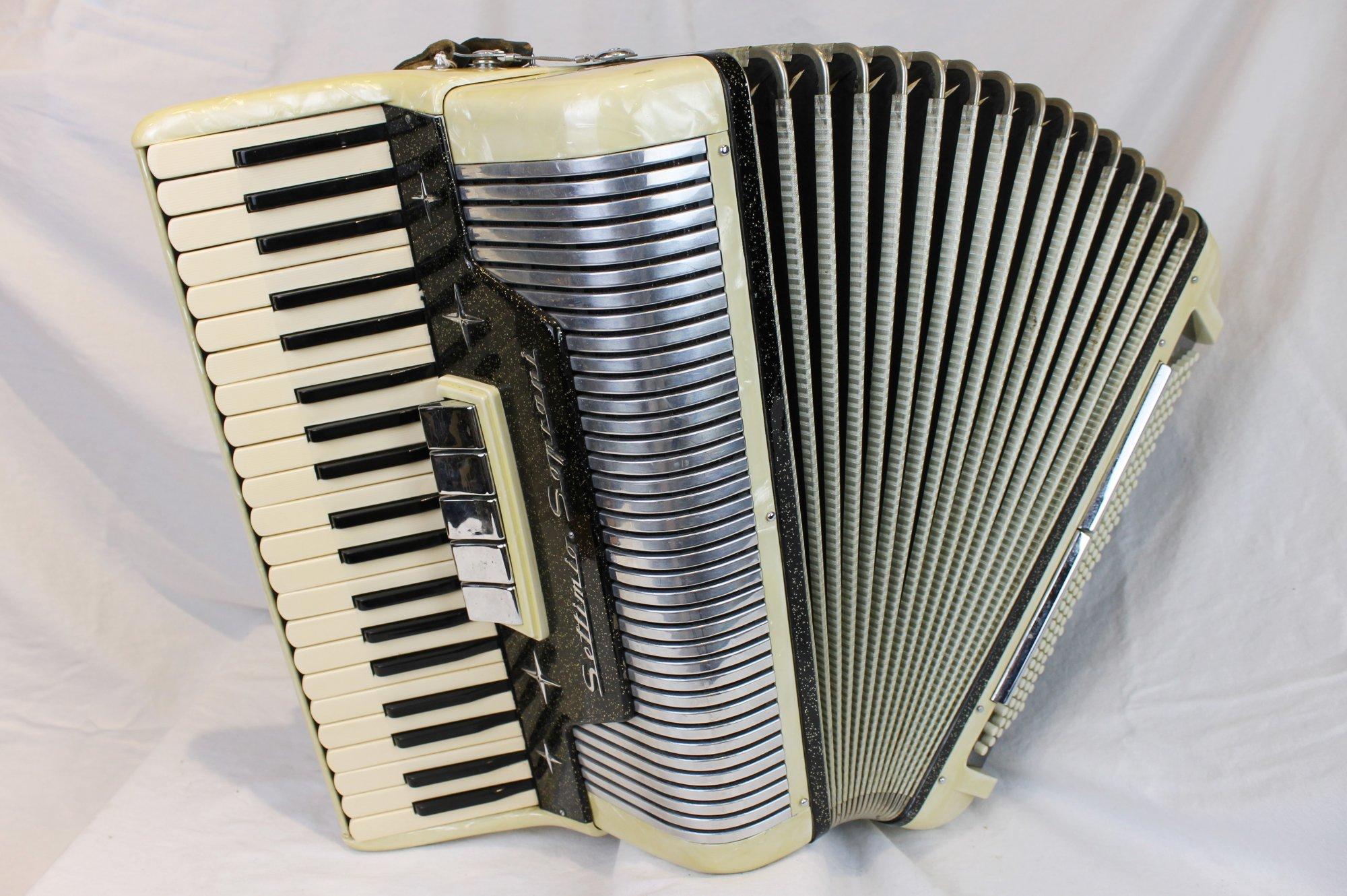 3927 - Black and Tan Settimio Soprani Piano Accordion LMH 41 120