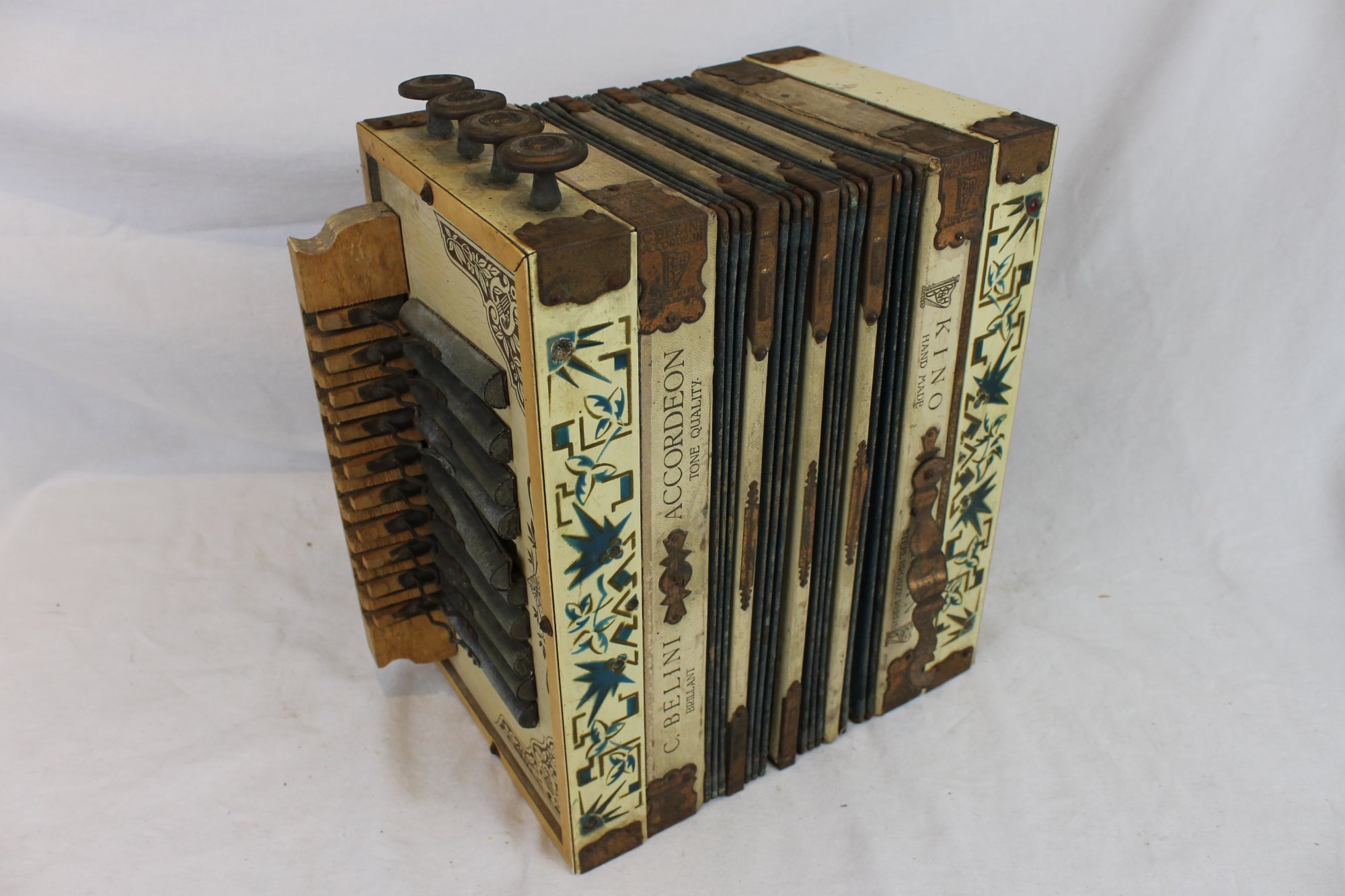 3960 - Cream C. Belini Kino Organ Diatonic Button Accordion - For Parts or Repair