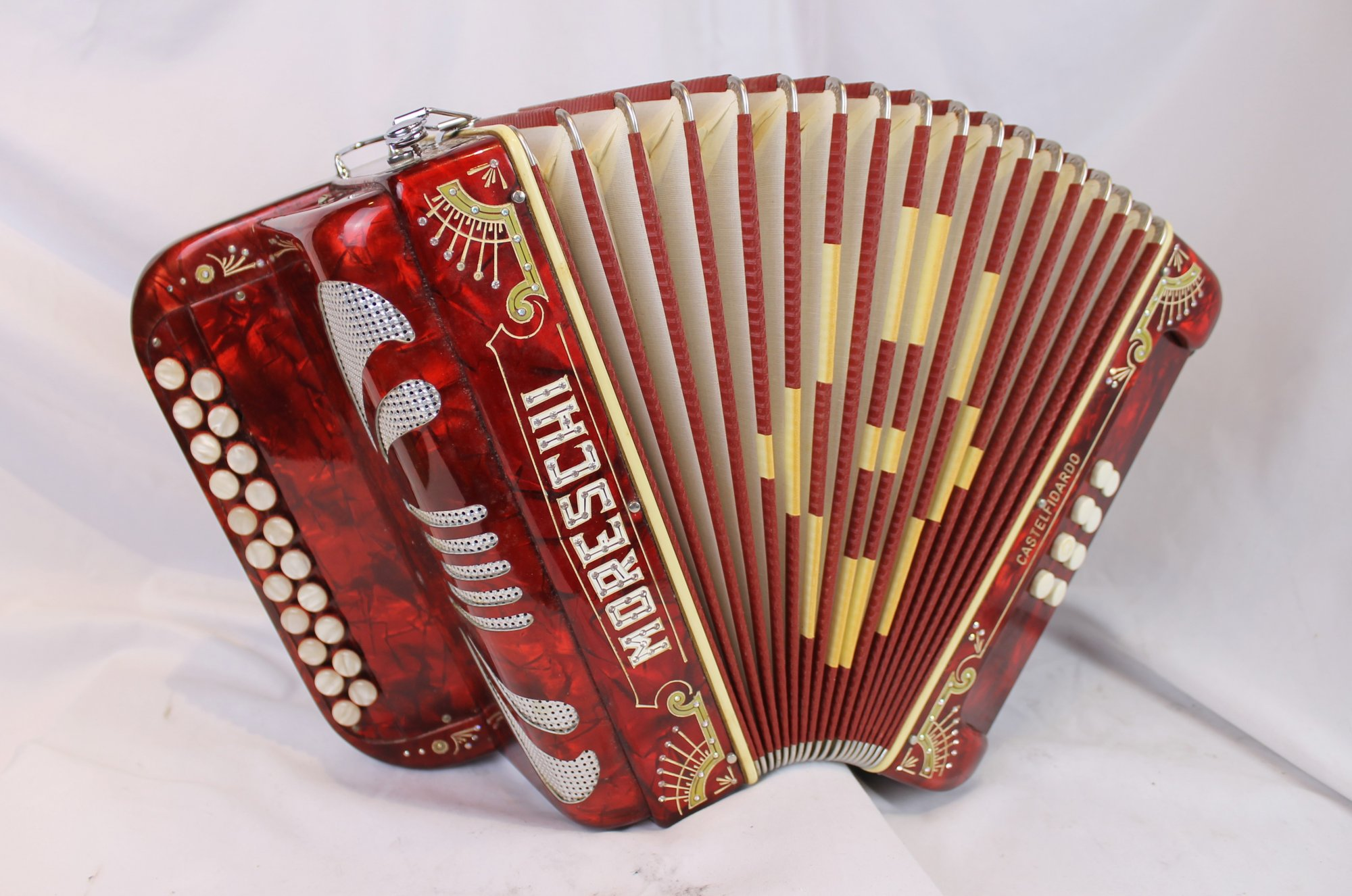 3982 - Decorated Red Moreschi Diatonic Button Accordion AD MMM 21 8