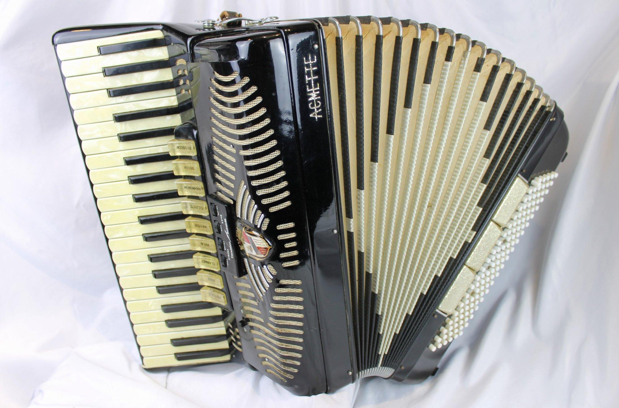 4539 - Black Acmette Piano Accordion LMMH 41 120