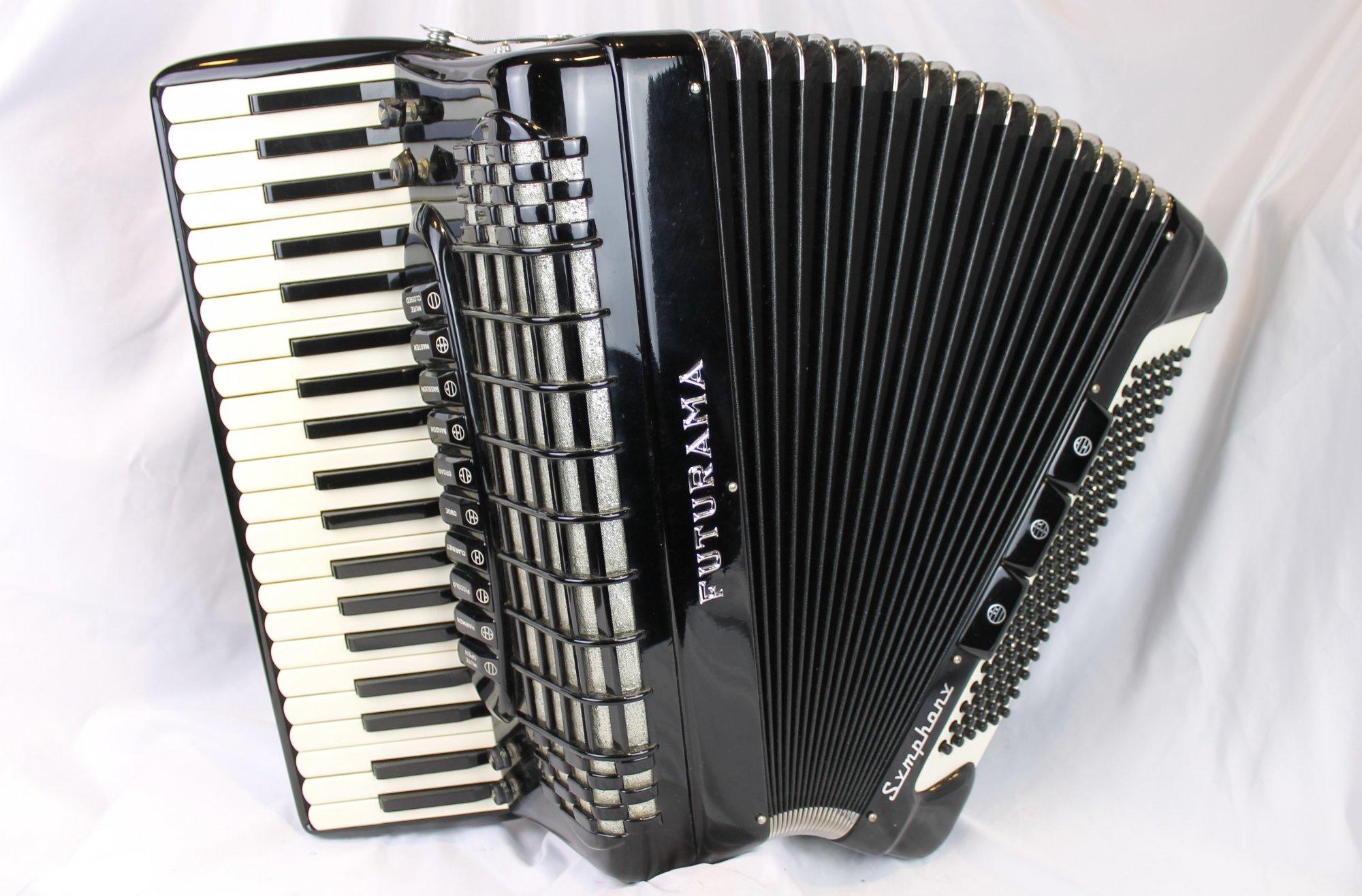 4550 - Black Futurama Symphony Piano Accordion LMH 41 120