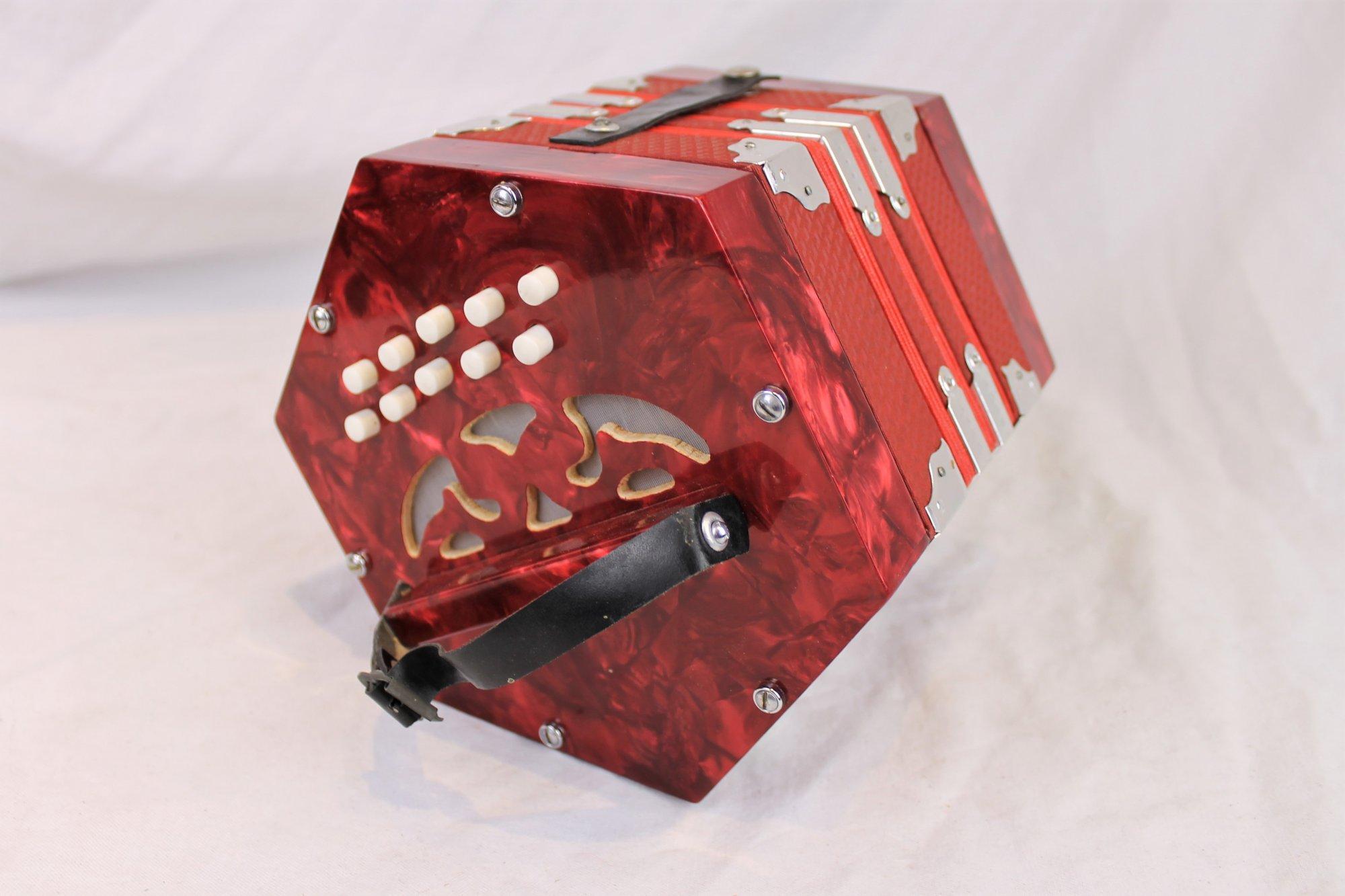 4566 - Red Italian Anglo Concertina CG 20
