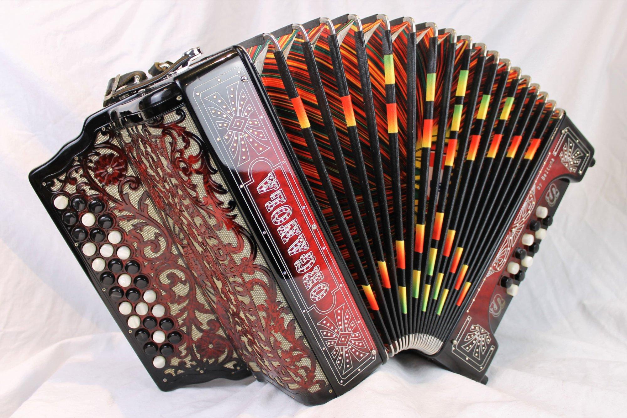 4598 - Rosewood Beltuna Super Organola Portuguese Concertina Diatonic Button Accordion FBbEb MMMM 33 12