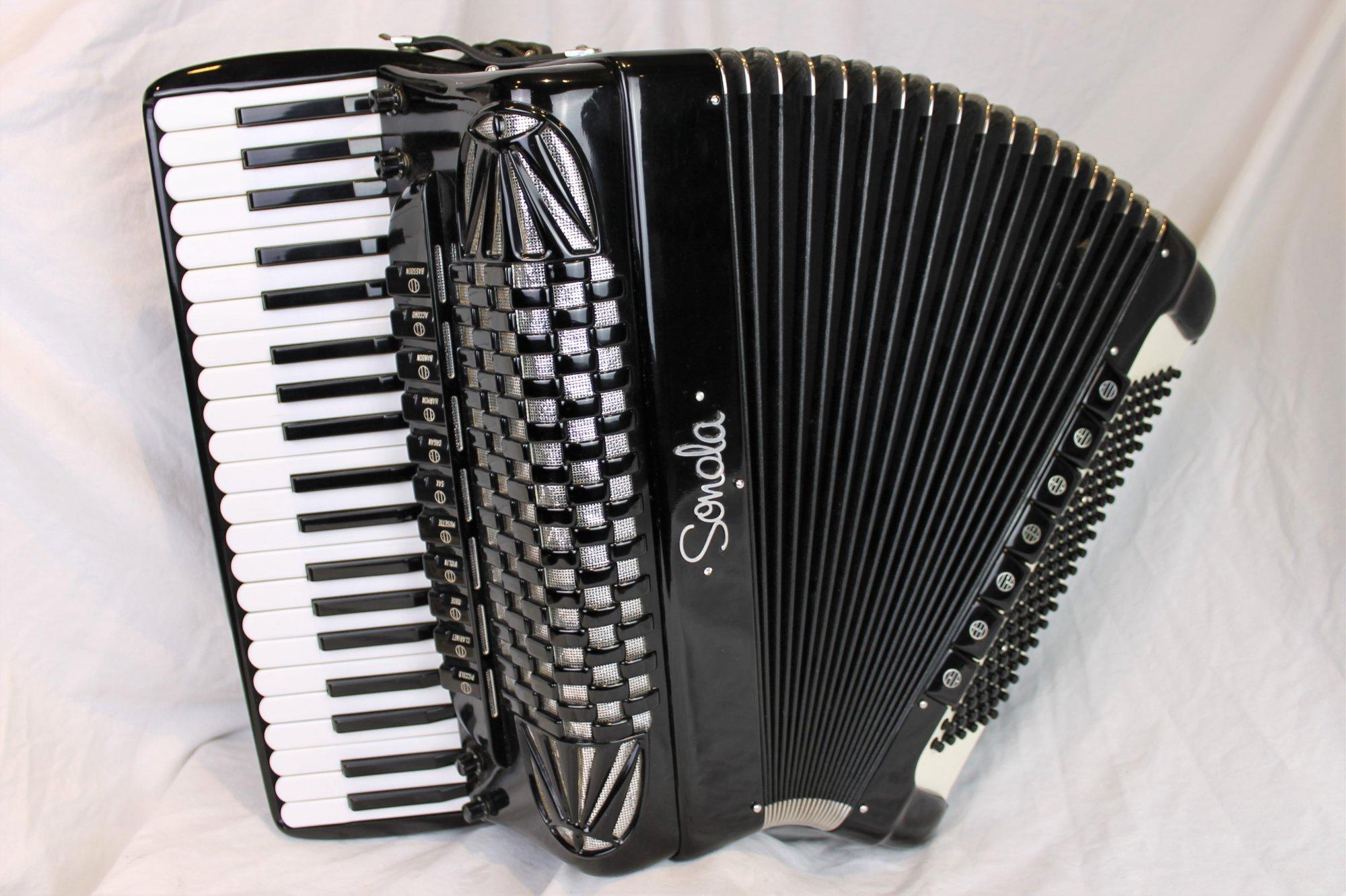 4594 - Black Sonola Double Tone Chamber Piano Accordion LMMH 41 120