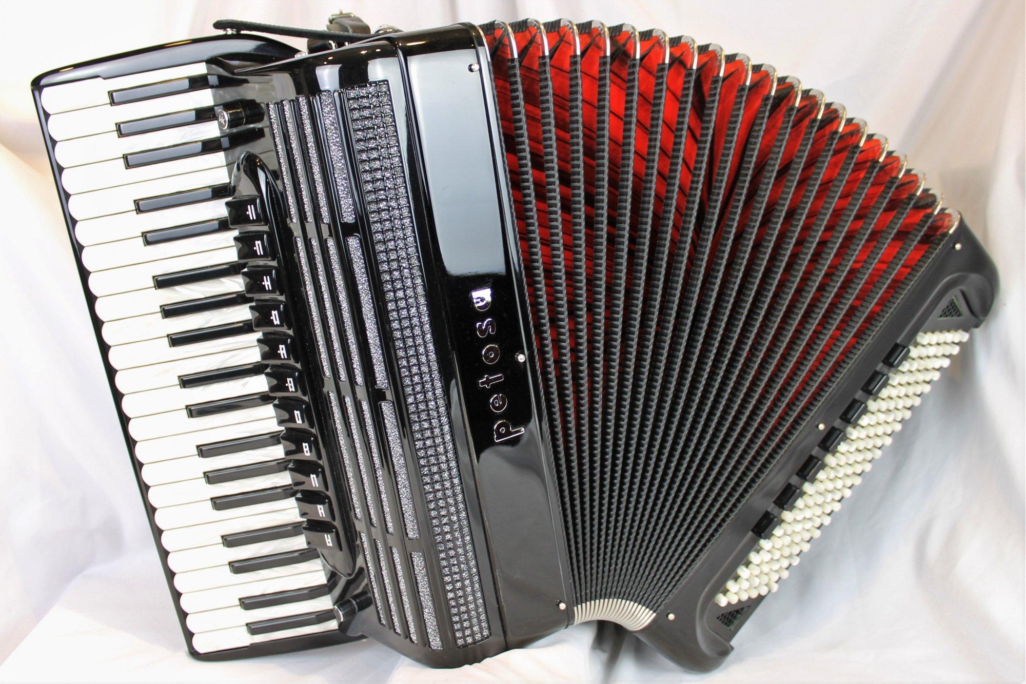4854 - Black Petosa AM 1000 MF Piano Accordion LMMM 41 120