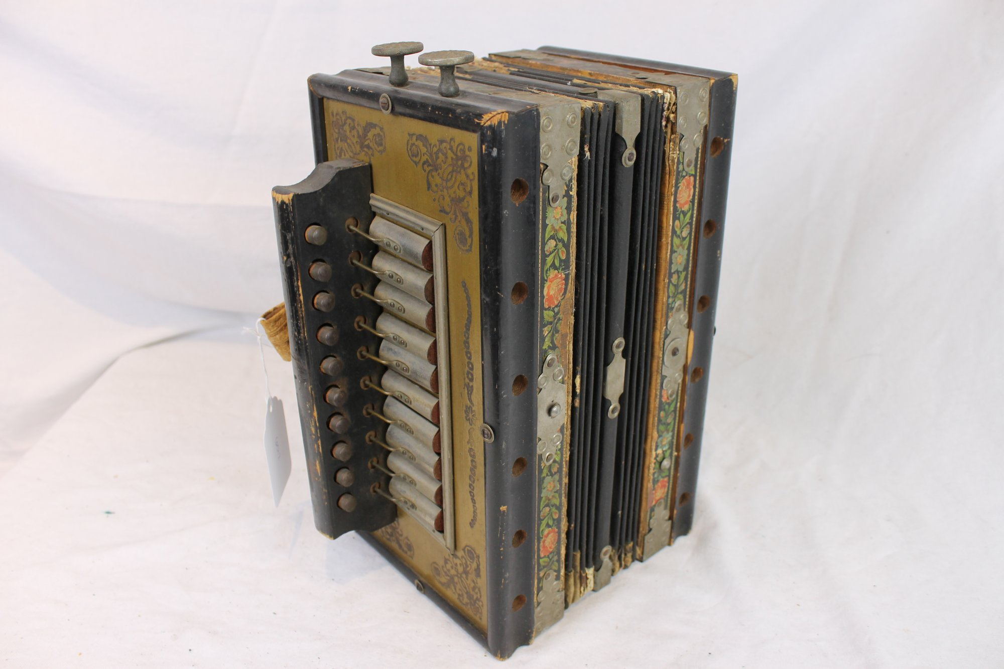 6012 - Black Diatonic Button Accordion 10 2 - For Parts or Repair