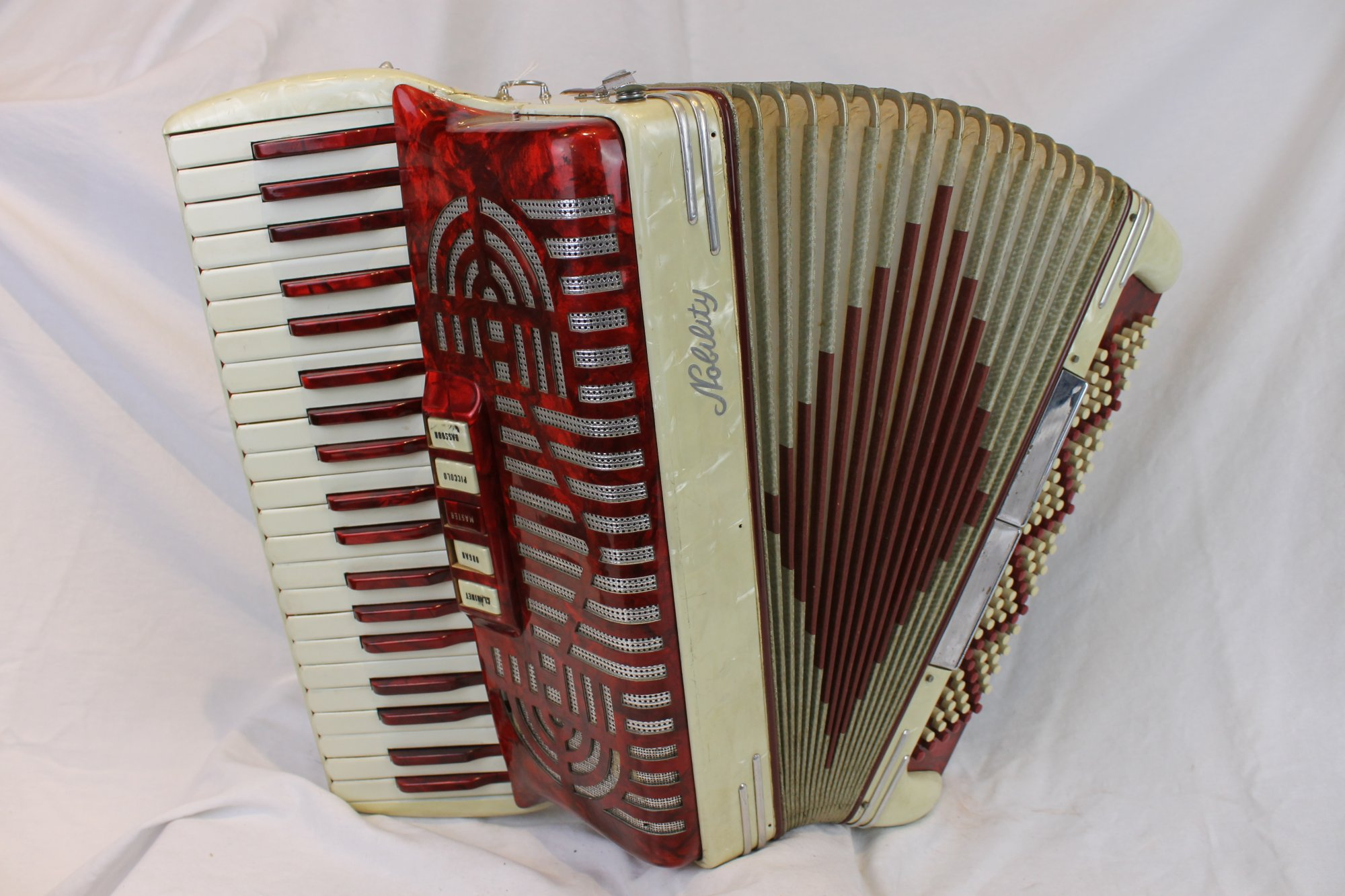 6055 - Candy Stripe Nobility Piano Accordion 41 120 - For Parts or Repair