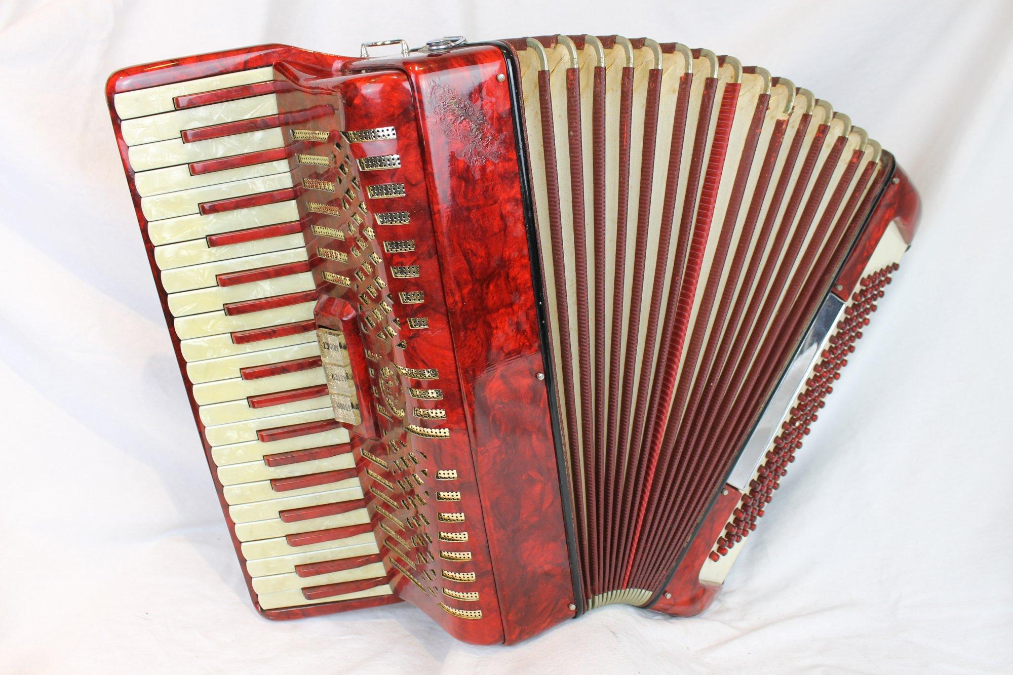 6097 - Red Italian Piano Accordion LM 41 120