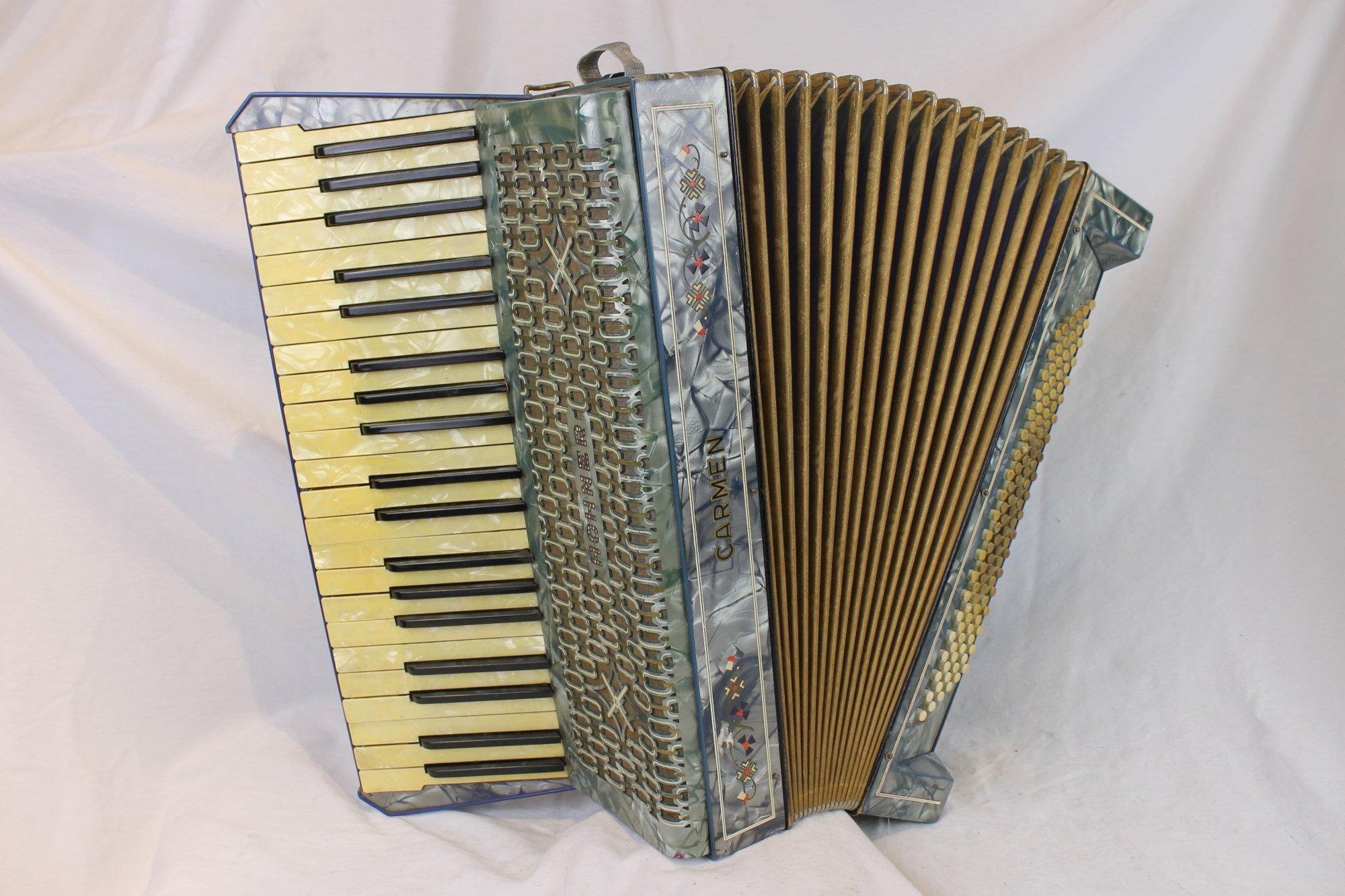 6123 - Decorated Blue Hohner Carmen Piano Accordion LMM 41 120