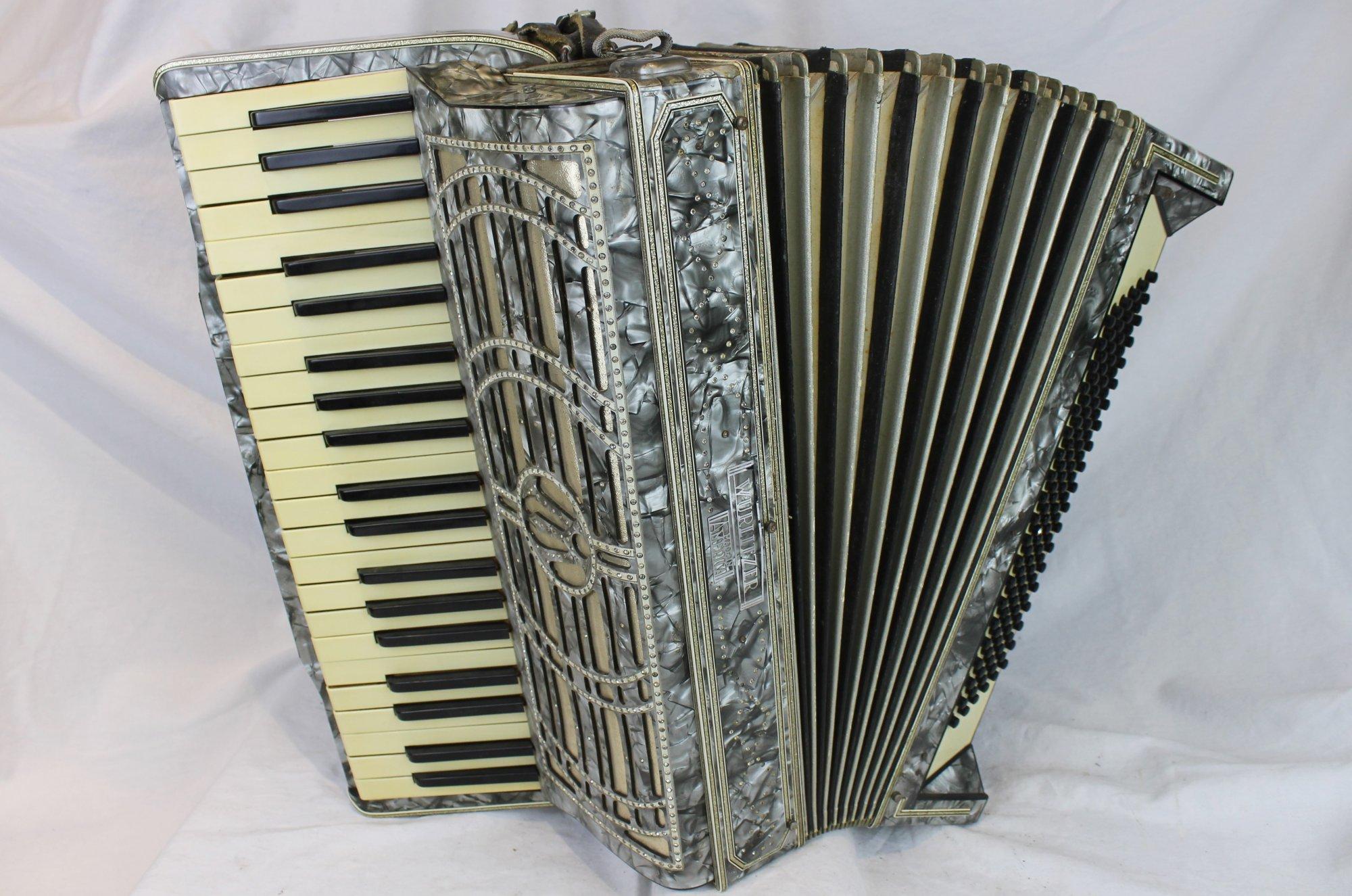6129 - Silver Wurlitzer Piano Accordion LMM 41 120 - For Parts or Repair