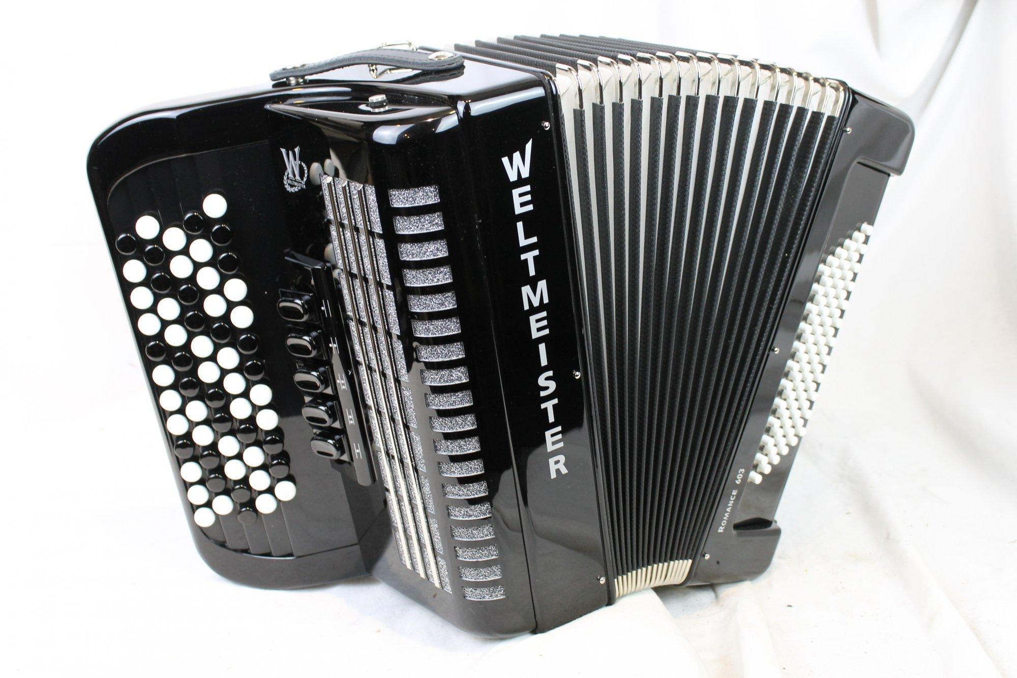 NEW Black Weltmeister Romance 603 Chromatic Button Accordion B LMM 60 72