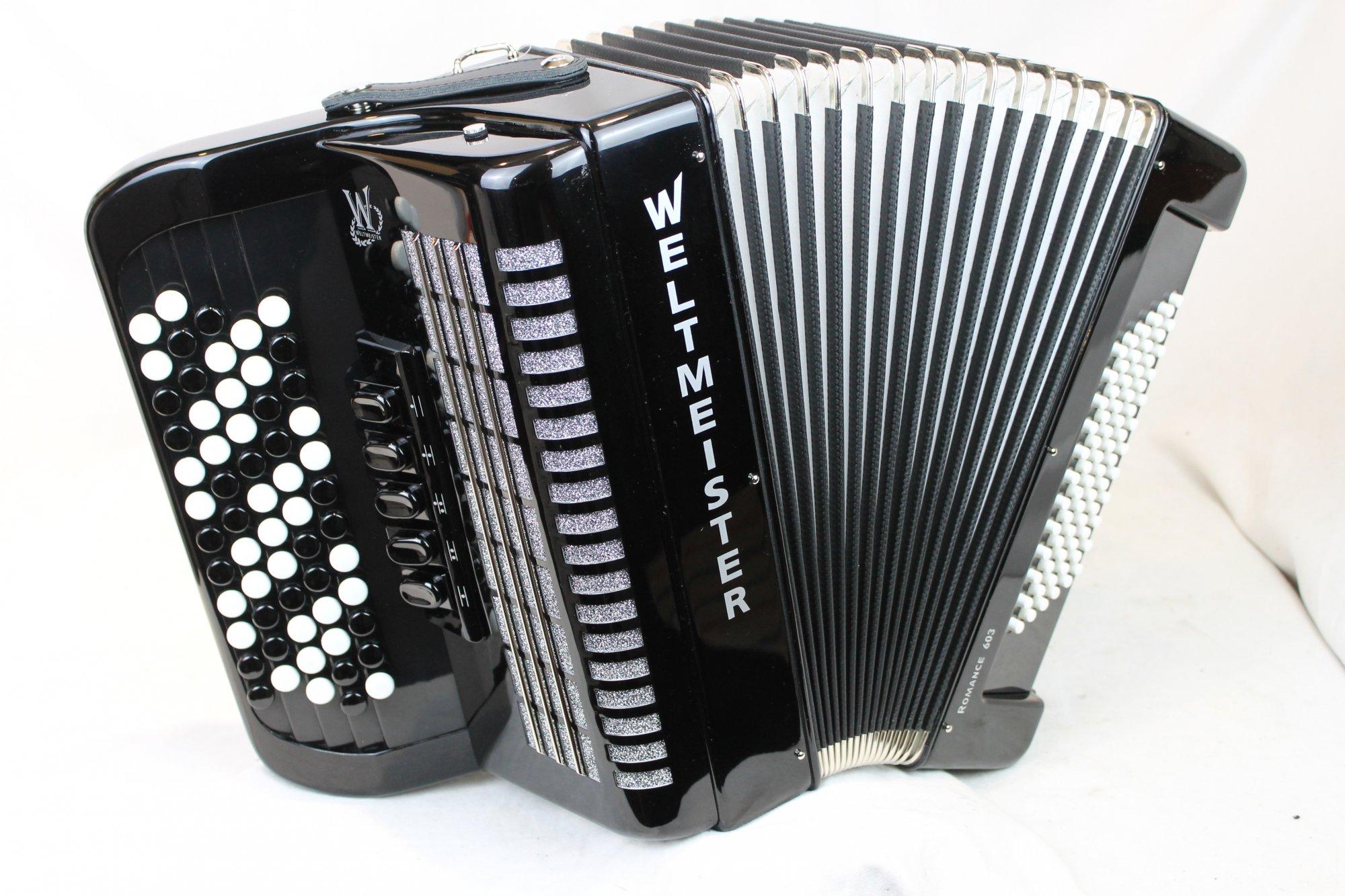 NEW Black Weltmeister Romance 603 Chromatic Button Accordion C LMM 60 72