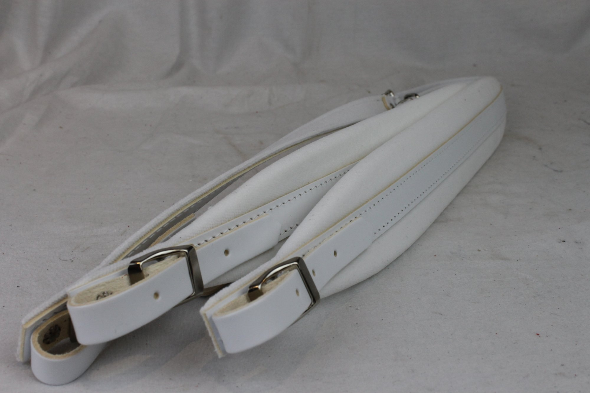 New White Leather Velour Fuselli Accordion Shoulder Straps Width (6 cm / 2.4 inch) Length (91cm-111cm / 35.8-43.7 inch)