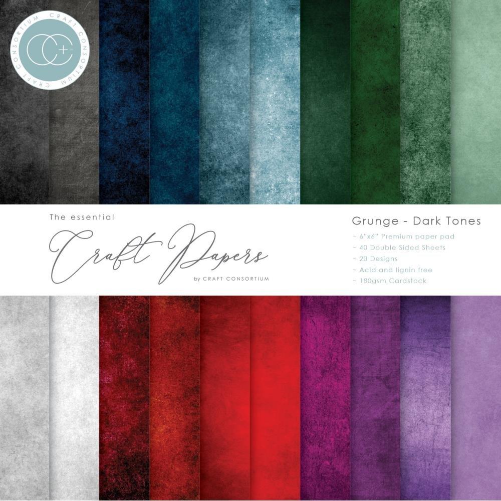 Craft Consortium Double-Sided Paper Pad 6X6 40/Pkg-Grunge-Dark Tones, 20 Designs