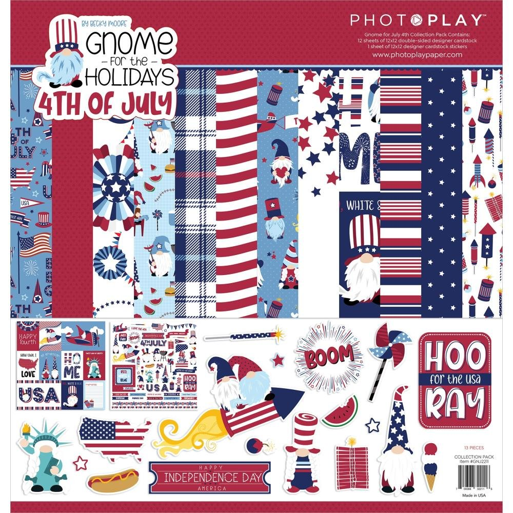 Gnome For July 4th PhotoPlay Collection Pack 12X12-