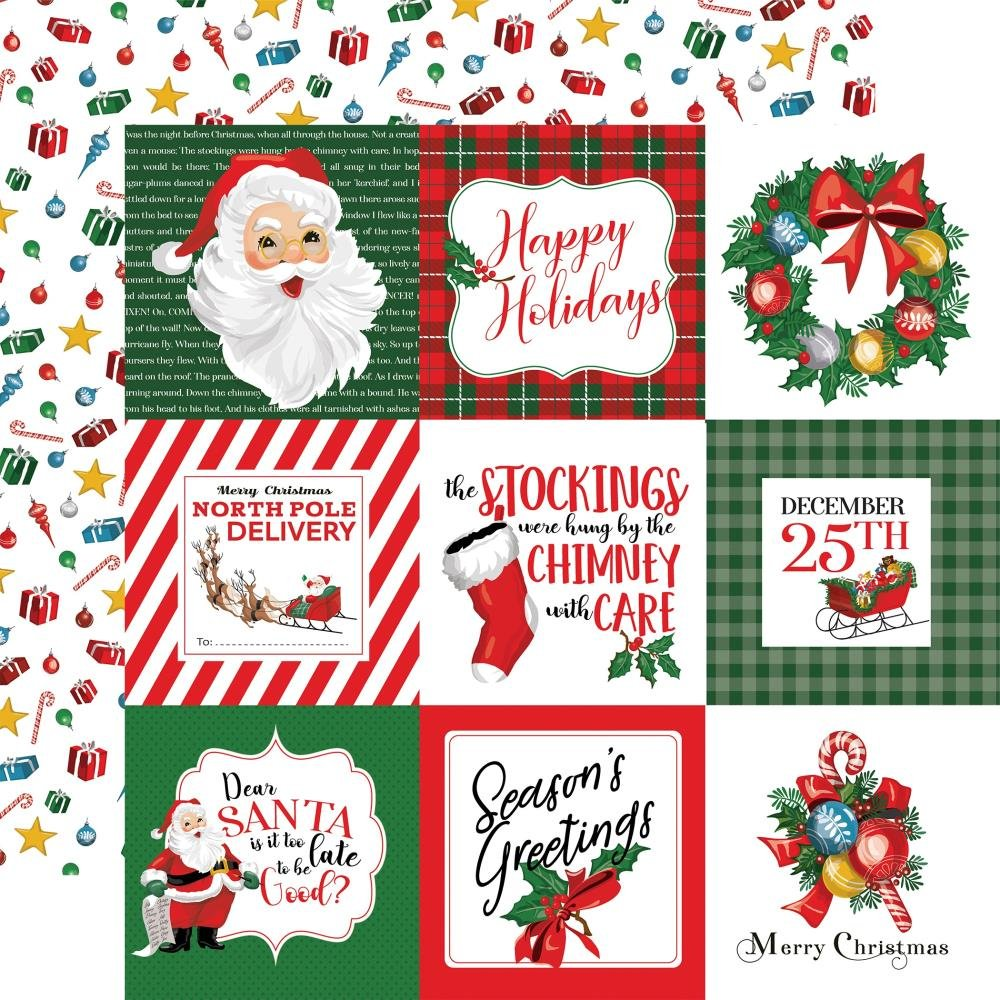 Carta Bella Dear Santa Double-Sided Cardstock 12X12 4x4 Journaling Cards