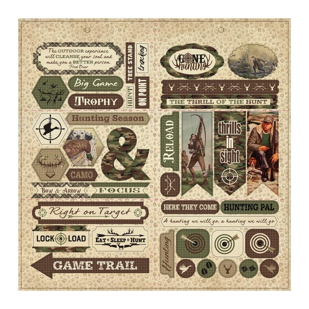 Hunting Double-Sided Cardstock Die-Cut Sheet 12X12-Elements