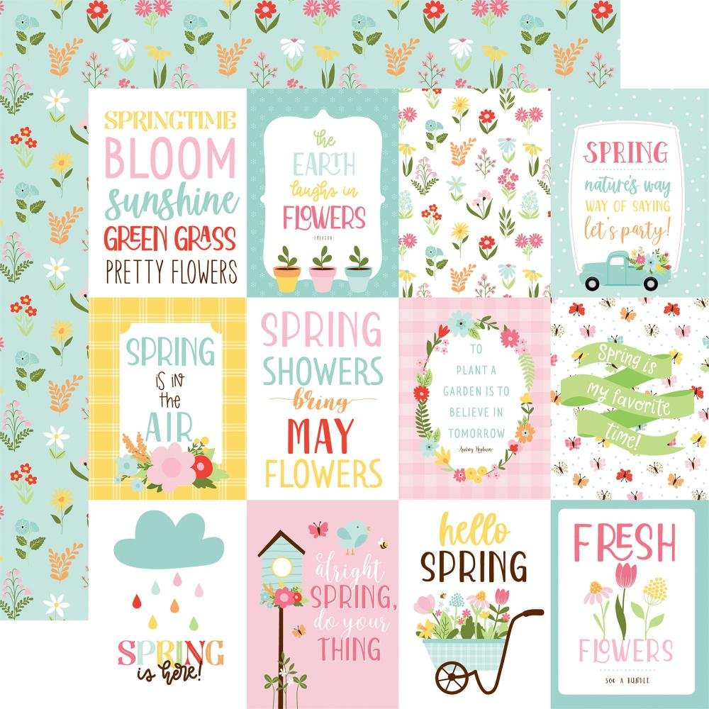 Welcome Spring Double-Sided Cardstock 12X12 3X4 Journaling Cards