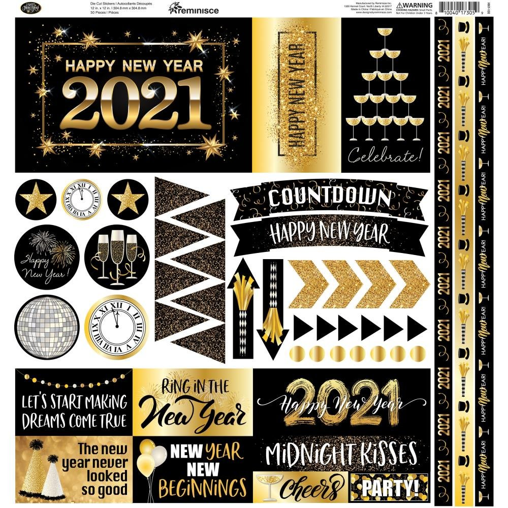 Reminisce Elements Cardstock Stickers 12X12 Happy New Year