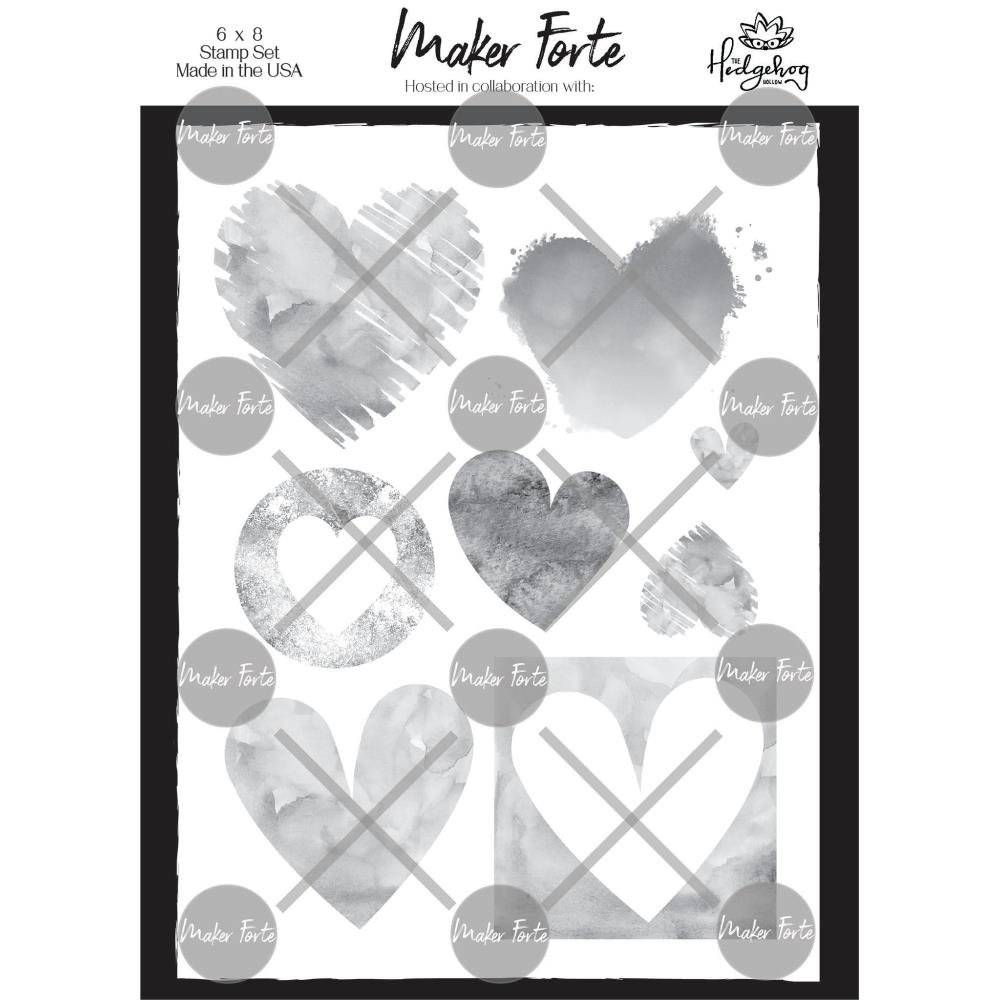 Maker Forte Clear Stamps By Hedgehog Hollow 6X8 Watercolor Hearts