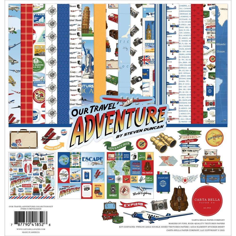 Carta Bella Collection Kit 12X12-Our Travel Adventure