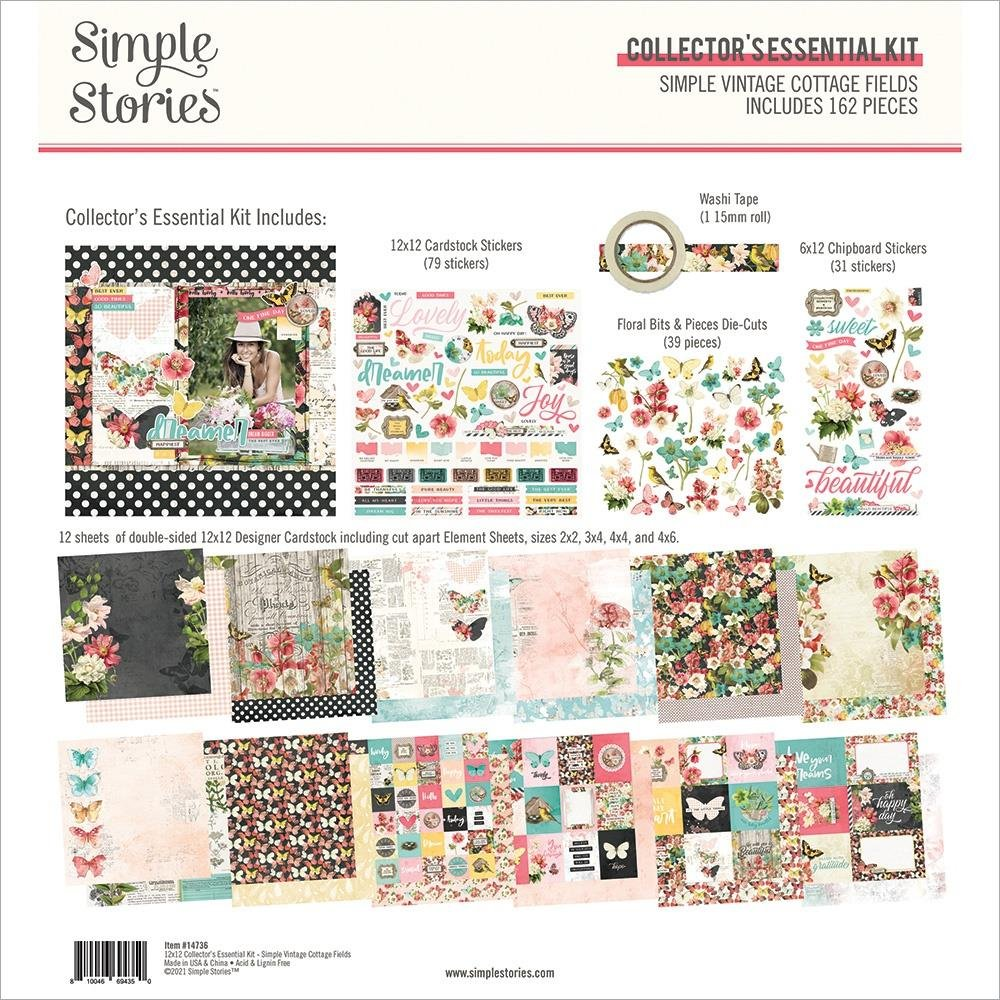 Simple Stories Vintage Cottage Fields Collector's Essential Kit 12X12