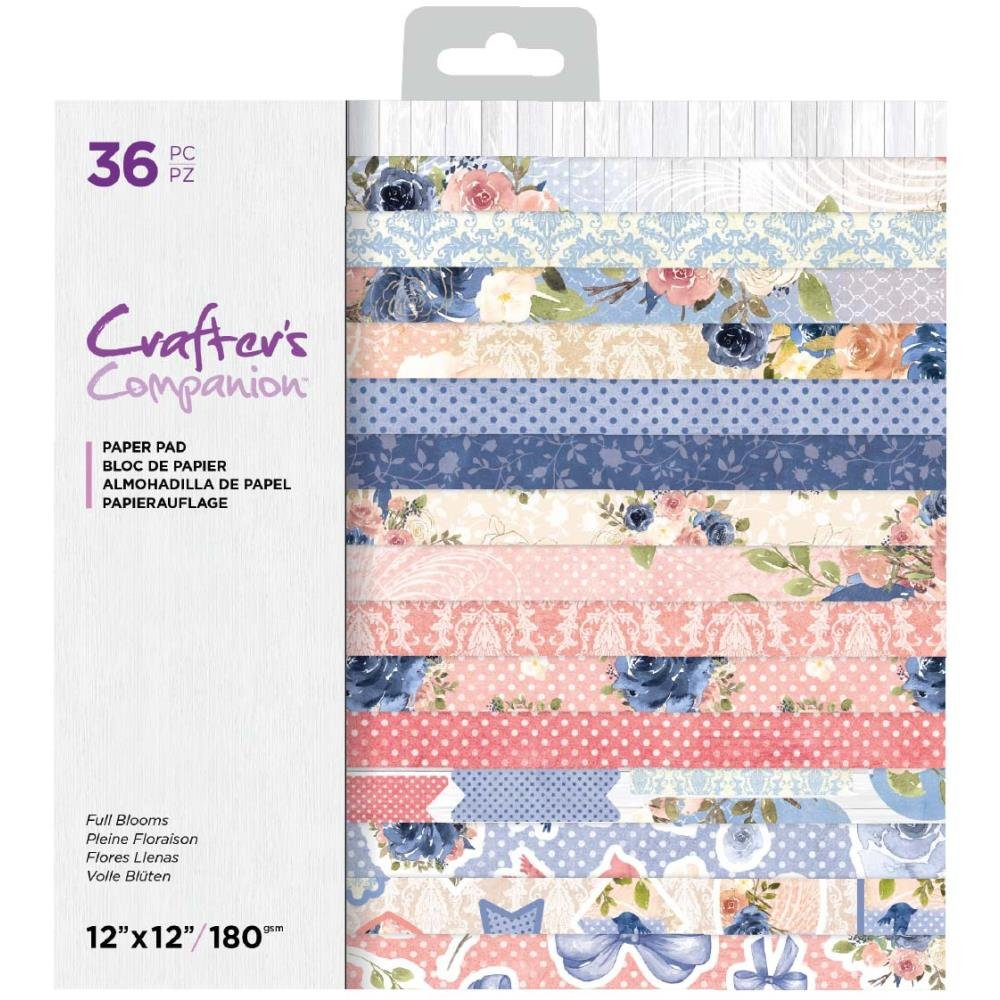 Crafter's Companion Single-Sided Paper Pad 12X12 36/Pkg-Full Blooms