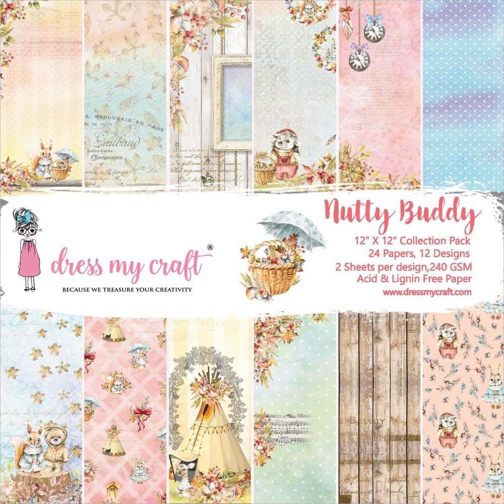 Dress My Crafts Single-Sided Paper Pad 12X12 24/Pkg-Nutty Buddy