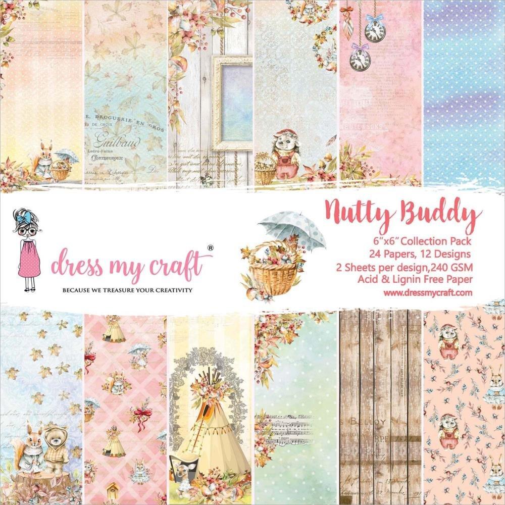 Dress My Crafts Single-Sided Paper Pad 6X6 24/Pkg-Nutty Buddy